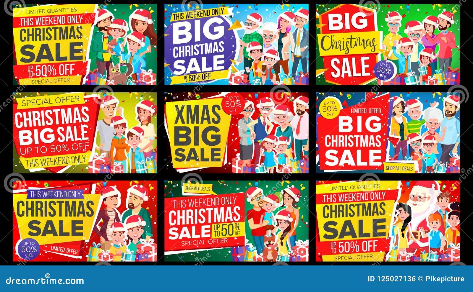 De Banner Vastgestelde Vector van de Kerstmisverkoop Korting tot 50 weg De grote Vector van de Kerstmisbanner Achtergrond Special