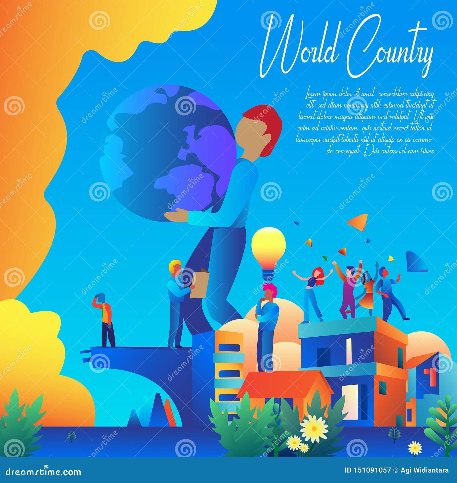 De Banner Vectorontwerp van het wereldland