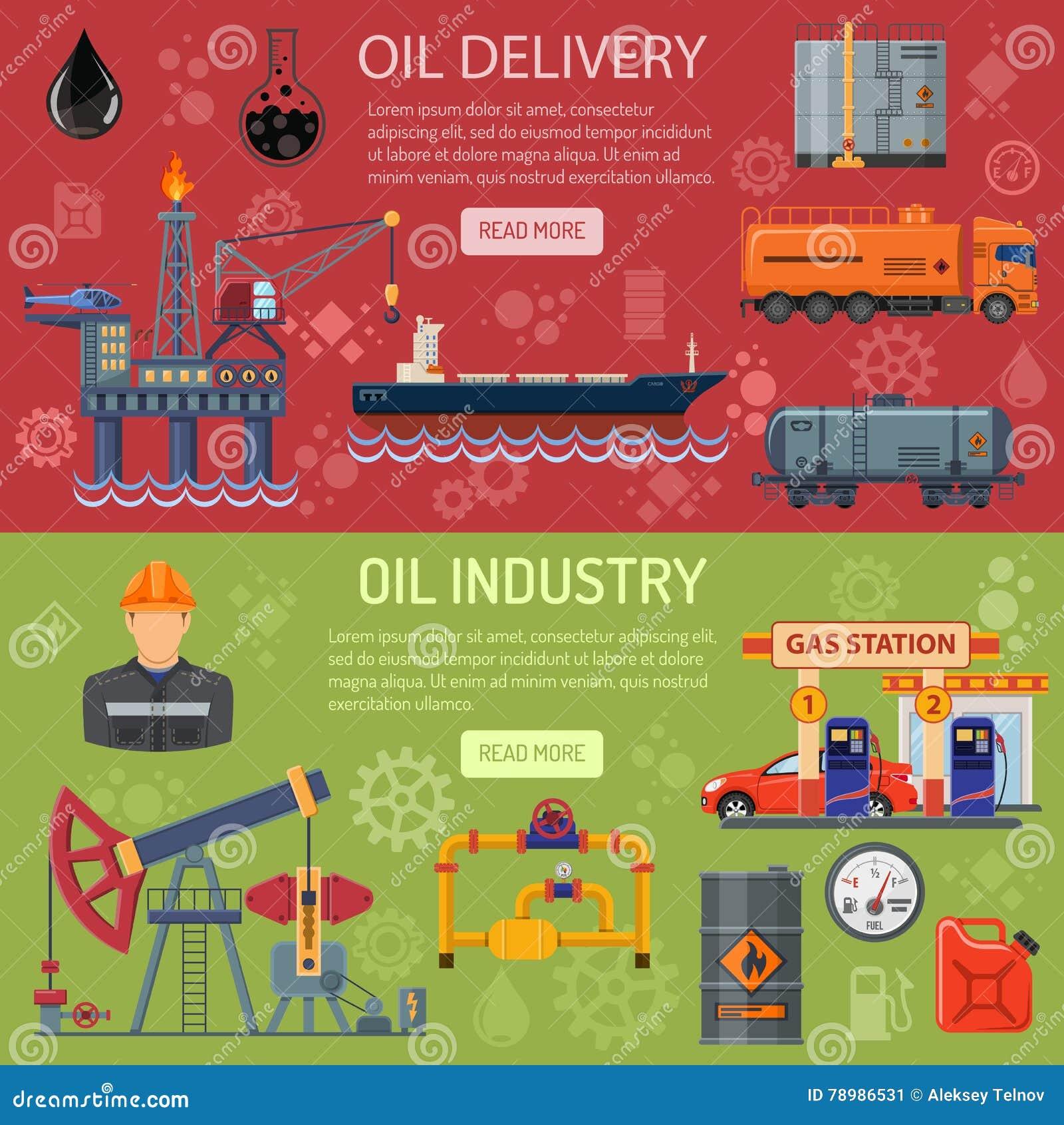 De Banners van de olieindustrie