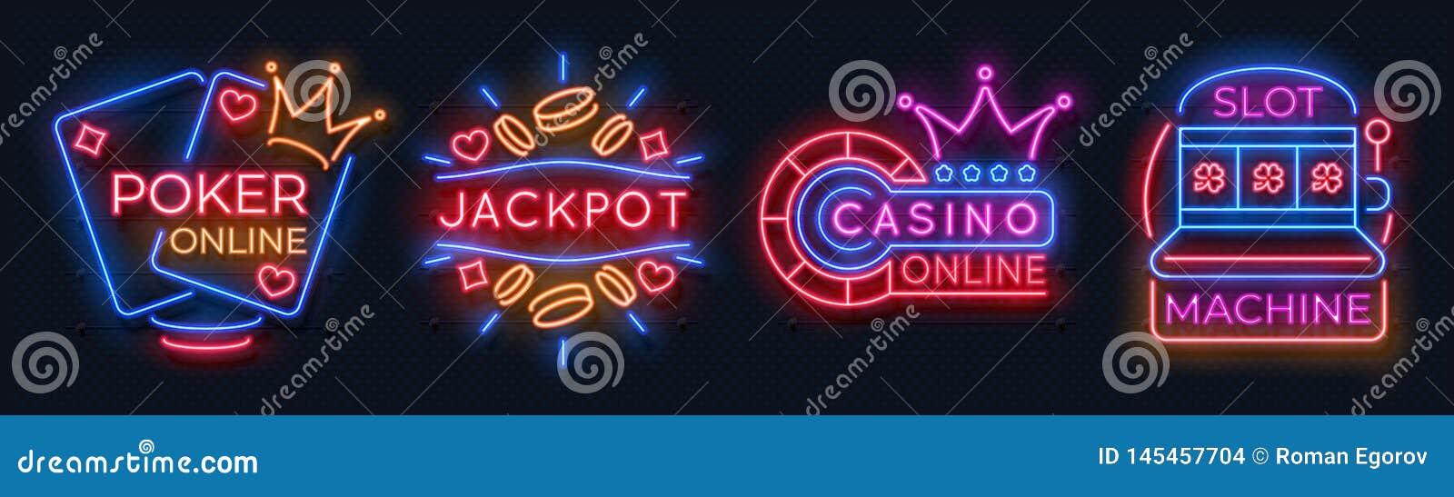 De banners van het neoncasino De roulette van gokautomaatspeelkaarten gelukkige het gokken tekens, de online weddenschap van het