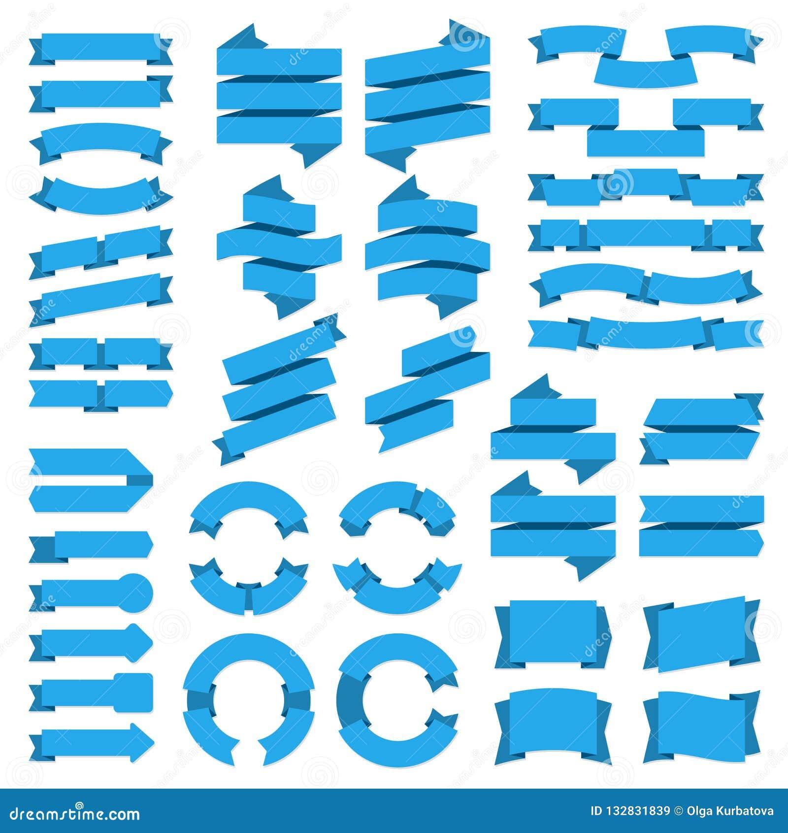 De banners van linten De banner van het verkoopkenteken, blauwe uitstekende markeringen, leeg vlak grafisch boogetiket, de modern