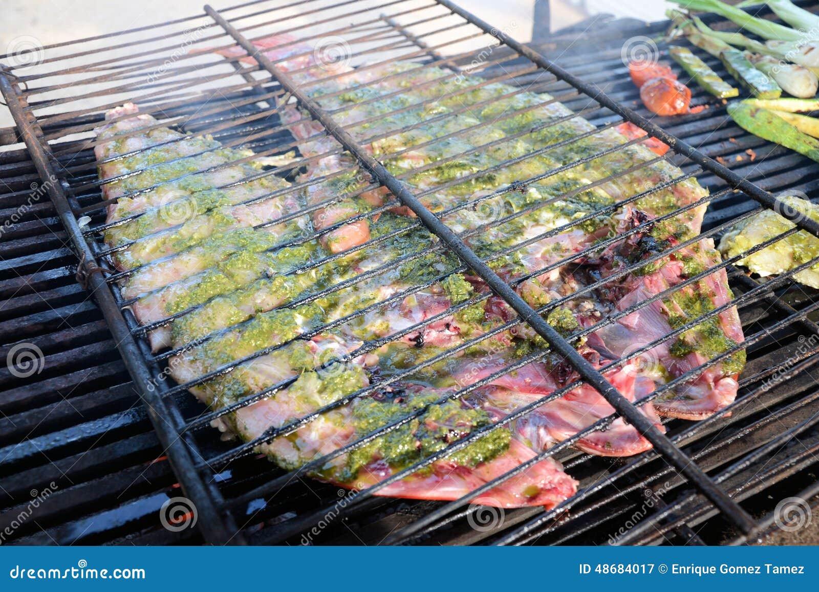De barbecue van vissen