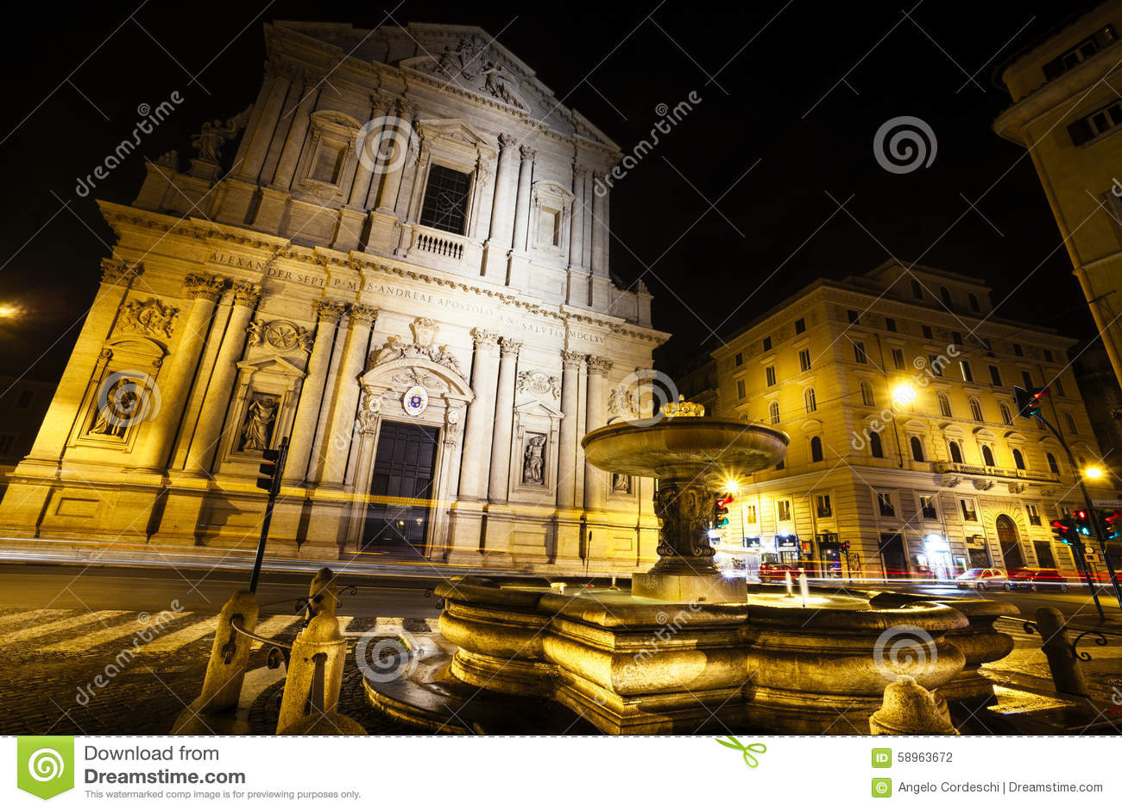 De basiliekkerk van Santandrea della valle in Rome, Italië nacht