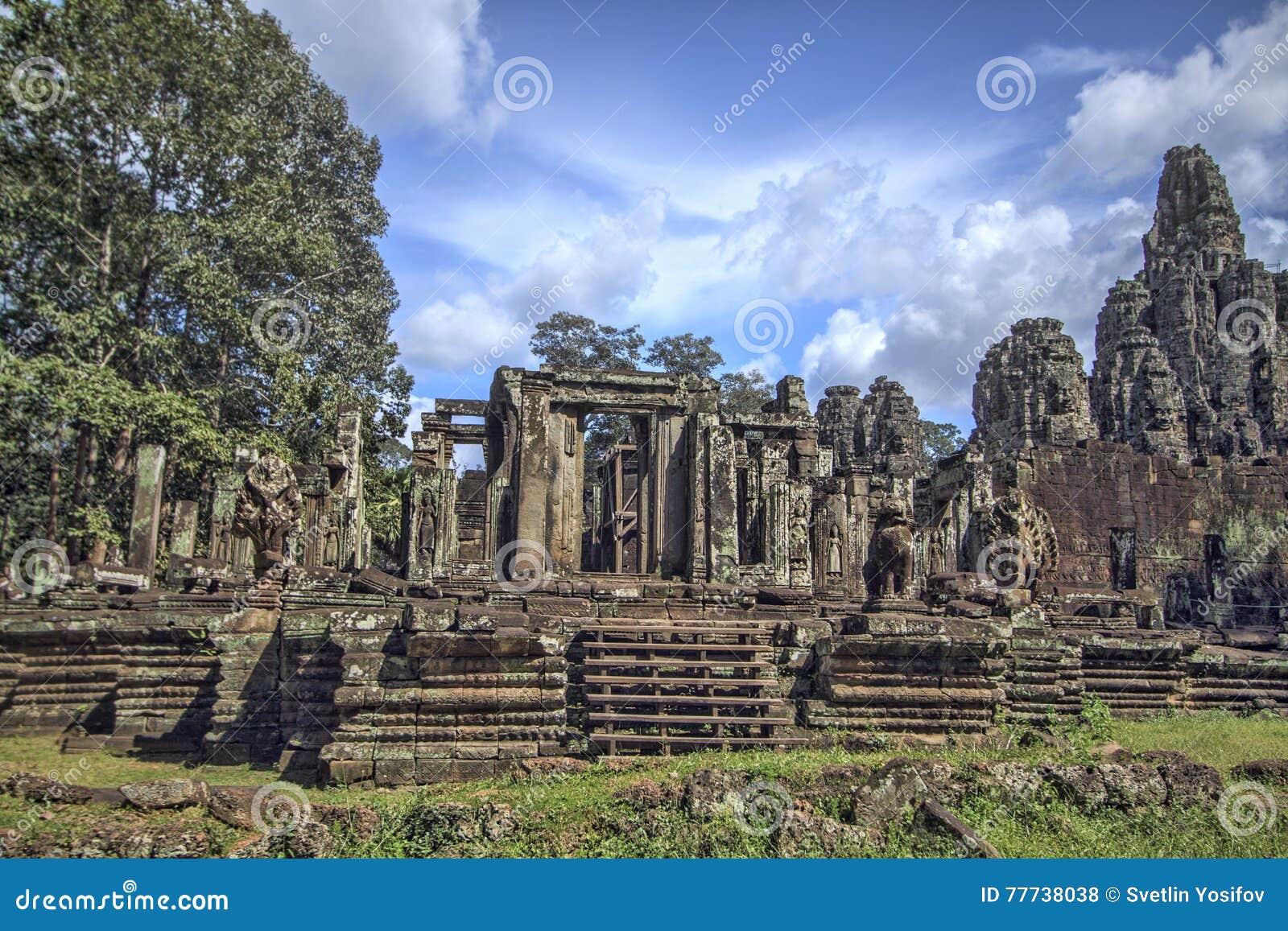 De Bayontempel in Siem oogst, Kambodja