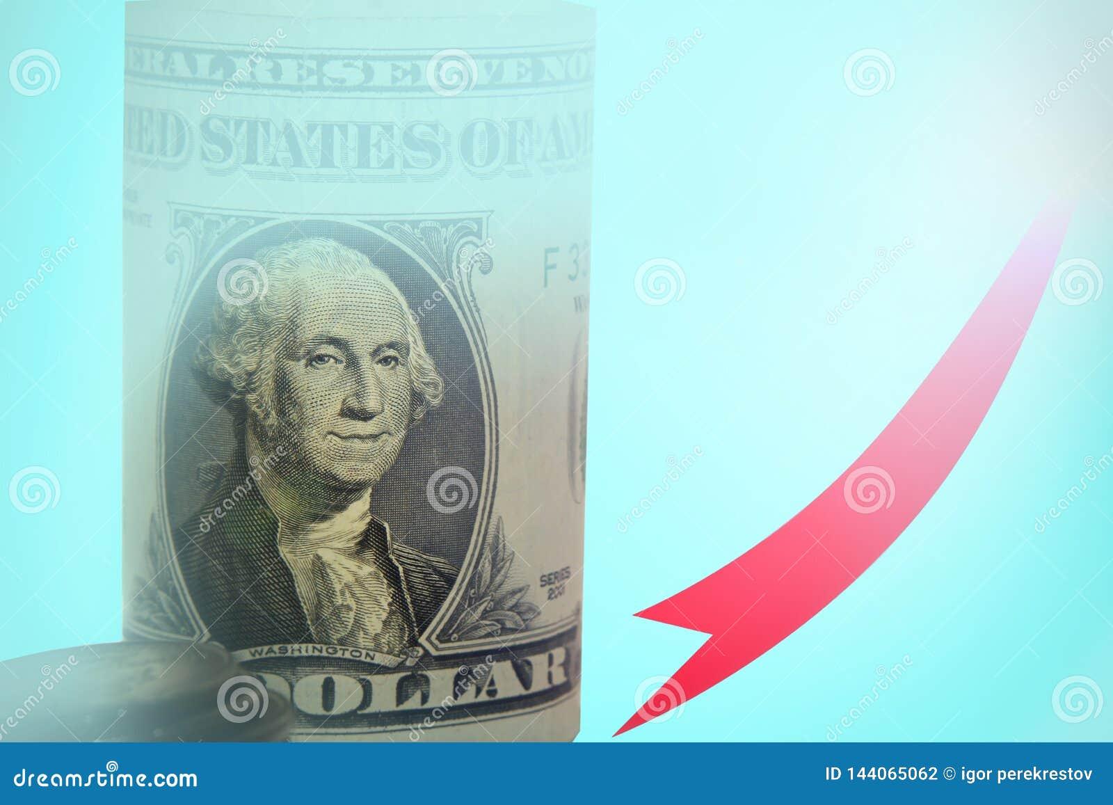 De bedrijfsgrafiek met een rood op pijl, vertegenwoordigt het concept groei van de dollarmunt op de markt de grote van de wereldm