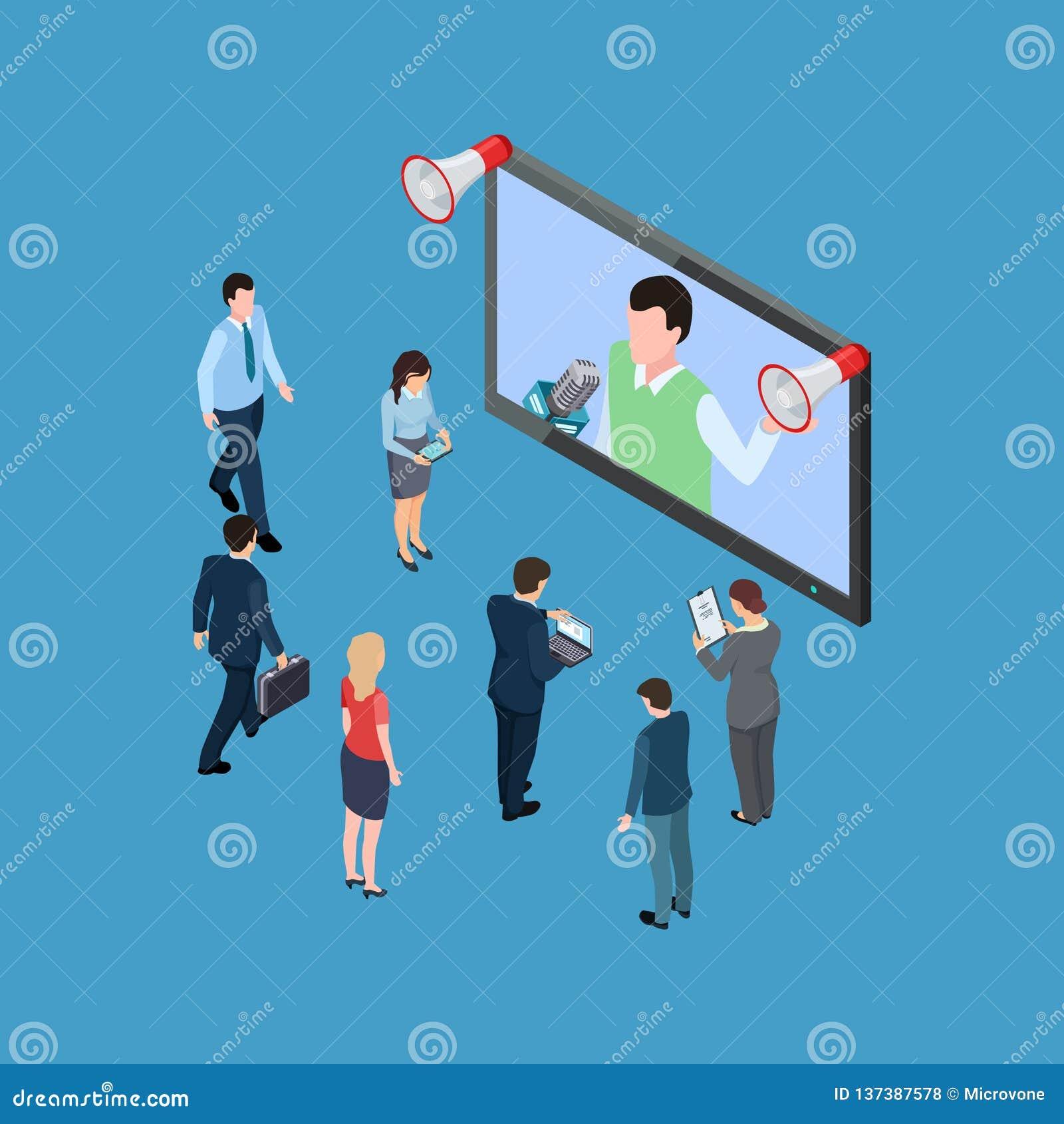 De bedrijfsmensen met megafoons en TV tonen isometrische vectorillustratie