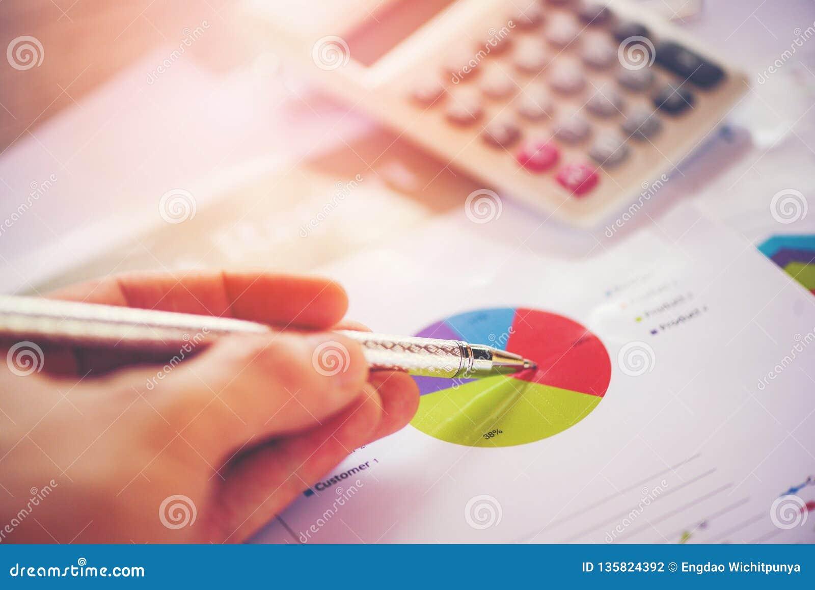 De bedrijfsrapportgrafiek die het rapport van de grafiekencalculator in Statistieken voorbereiden omcirkelt cirkeldiagram op papi