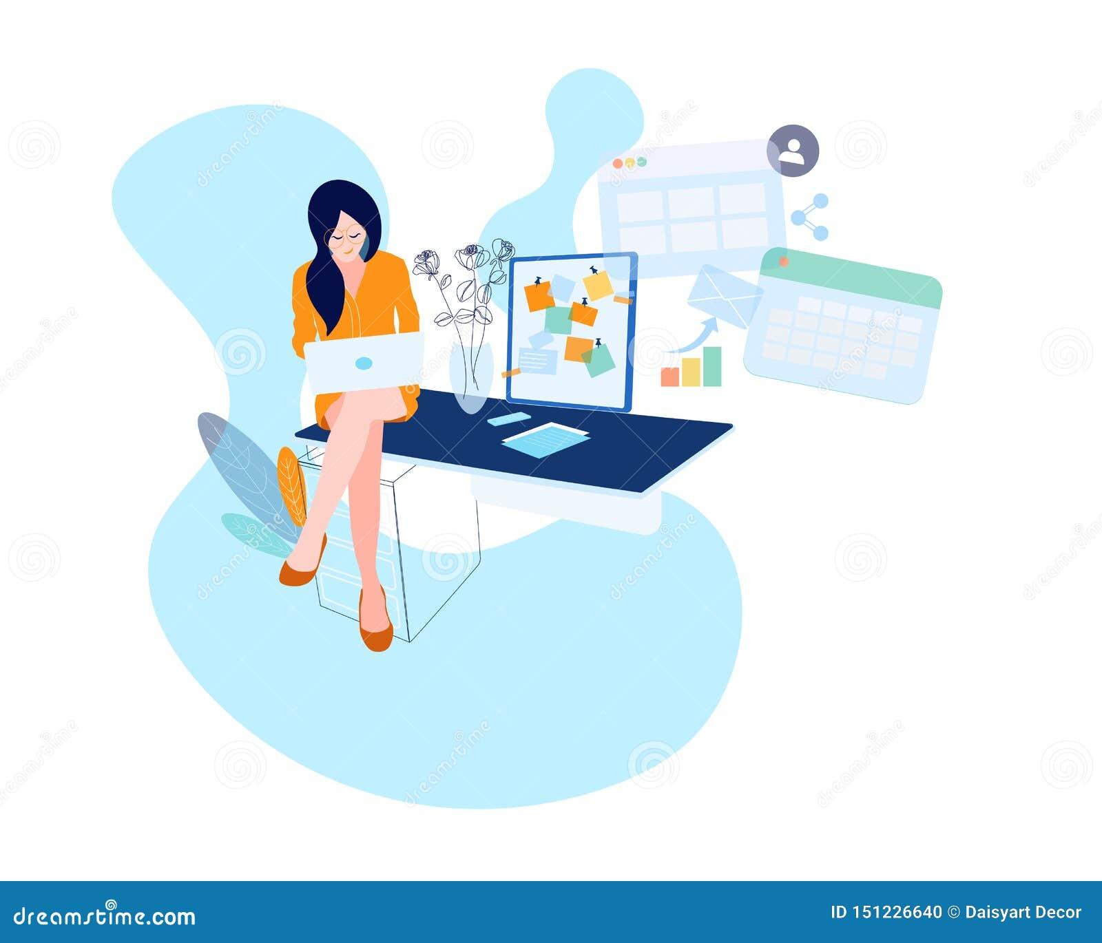 De bedrijfsvrouw bij het bureau werkt aan de laptop computer Vectorillustratie in vlakke stijl Document gelukkig blad,