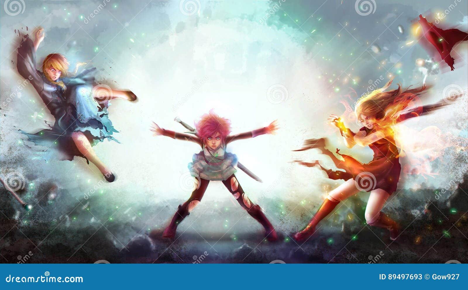 De beeldverhaalillustratie van een strijdersmeisje die magische machtsaanval aan vrouwen vernietigen behekst en tovenaar in het J