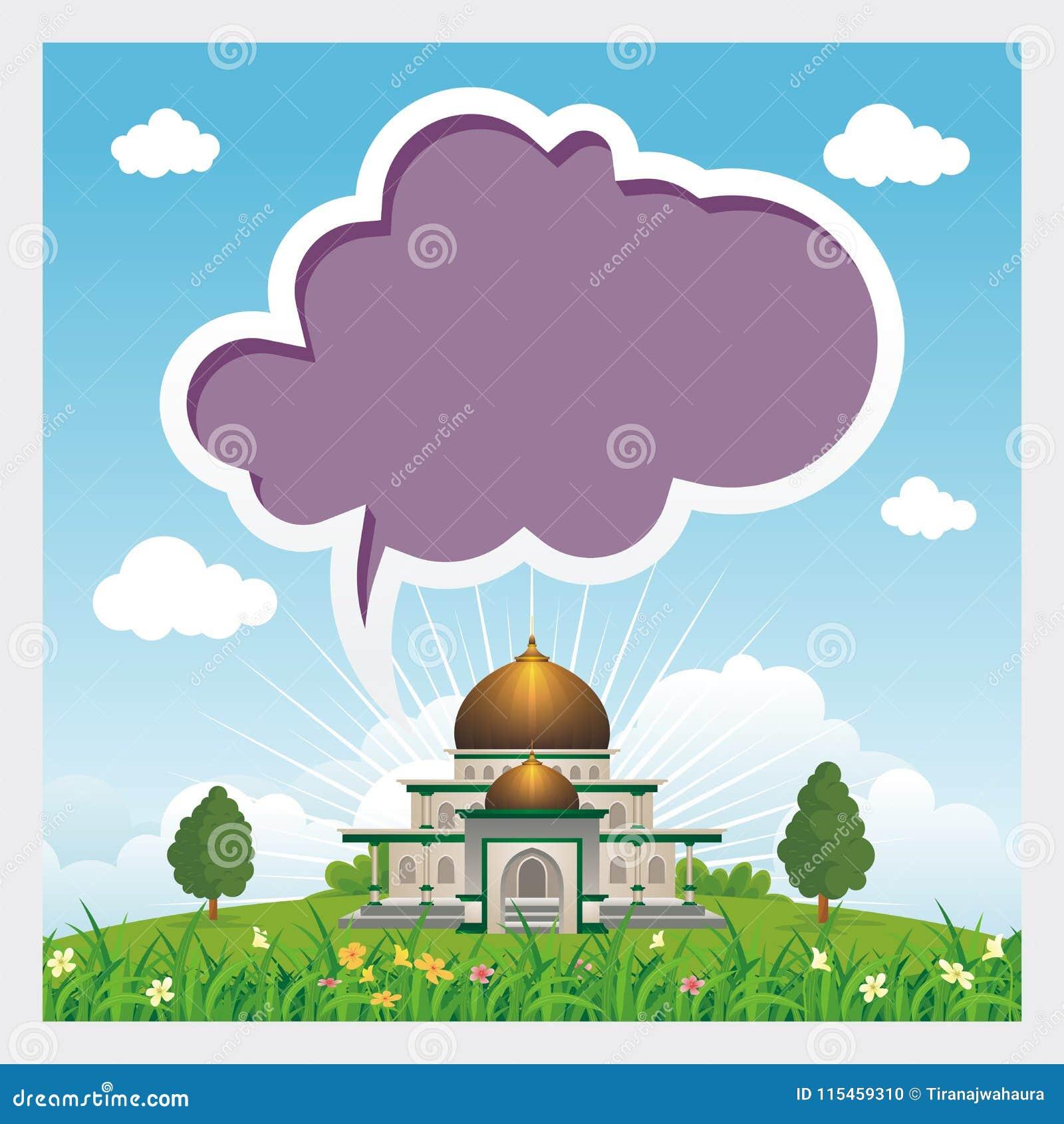 De beeldverhaalmoskee met lege bespreking borrelt de hemel en de wolk