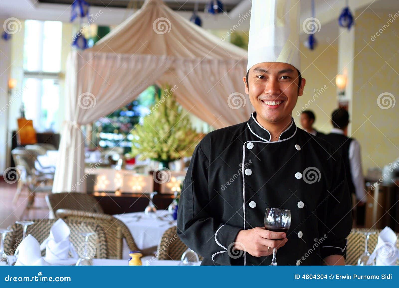 De begroeting van de chef-kok bij restaurant
