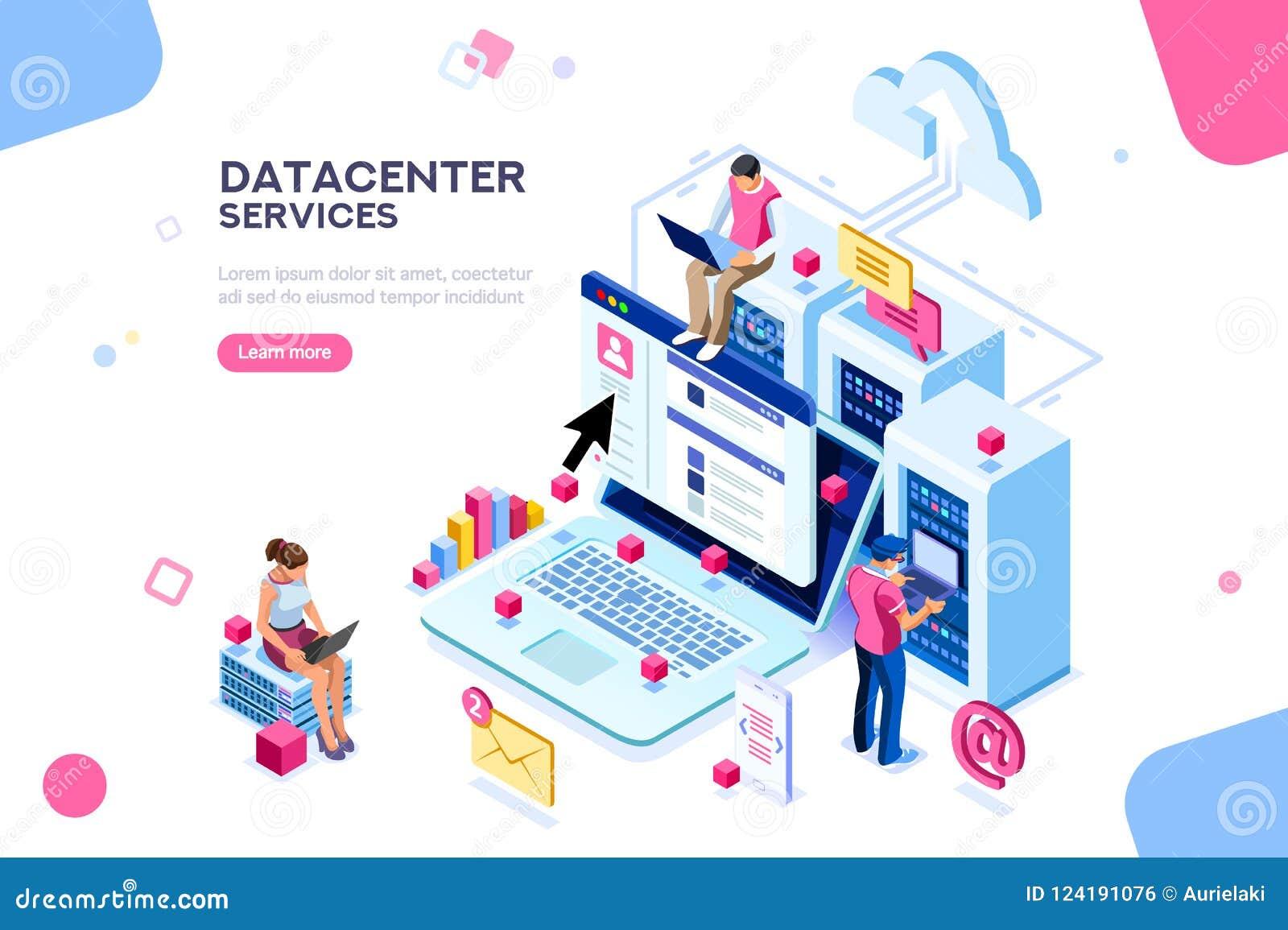 De Beheerder Concept Vector Design van Datacenterinternet