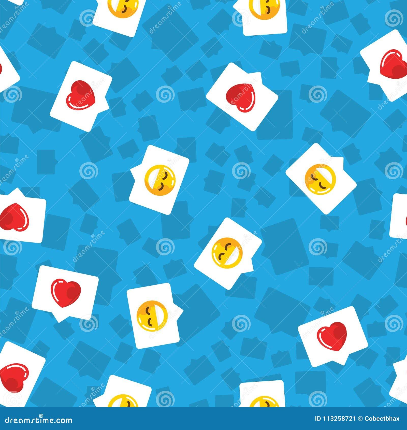 De bel van het patroonpraatje in mobiel bericht en sociaal netwerk Rood hart, als en glimlach op blauwe patroonachtergrond