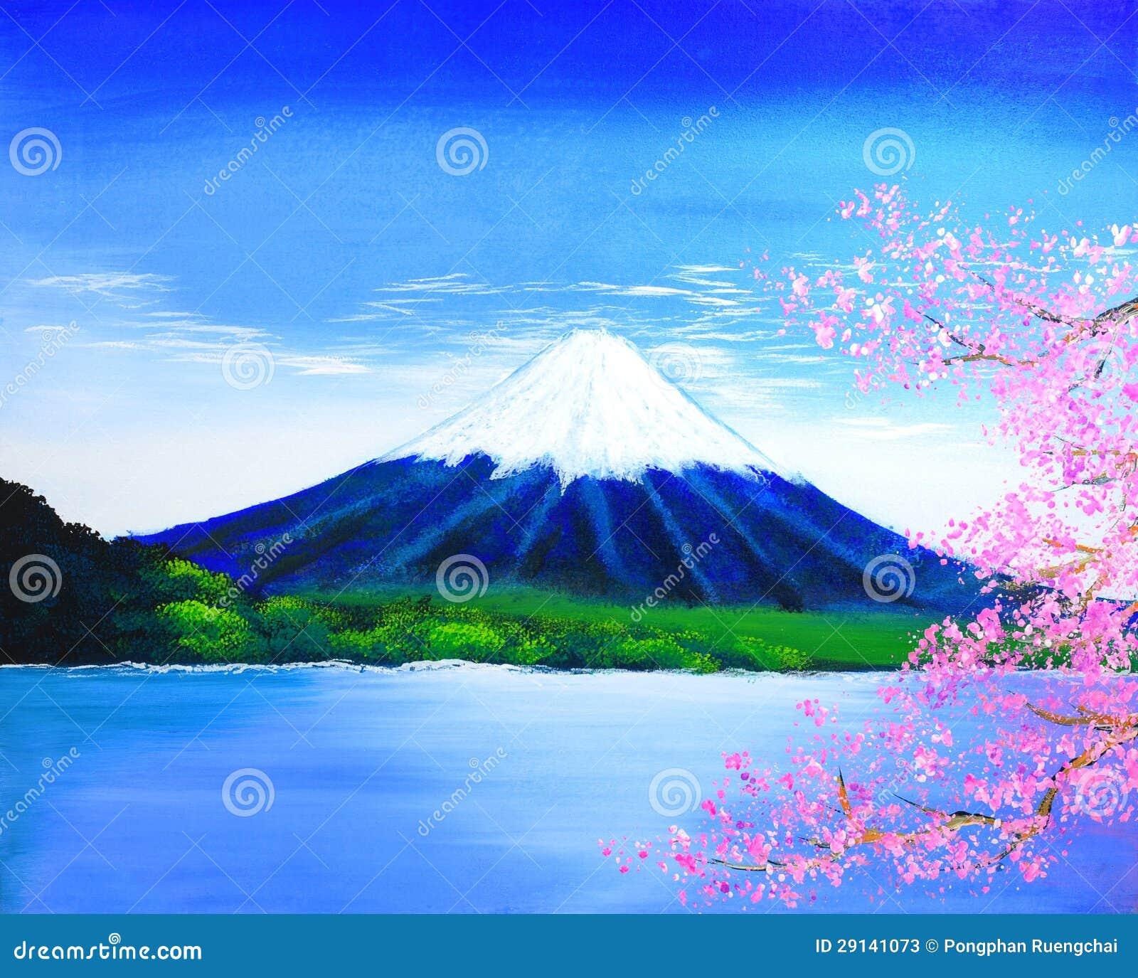 De Berg Van Fuji Het Schilderen Stock Foto S Afbeelding