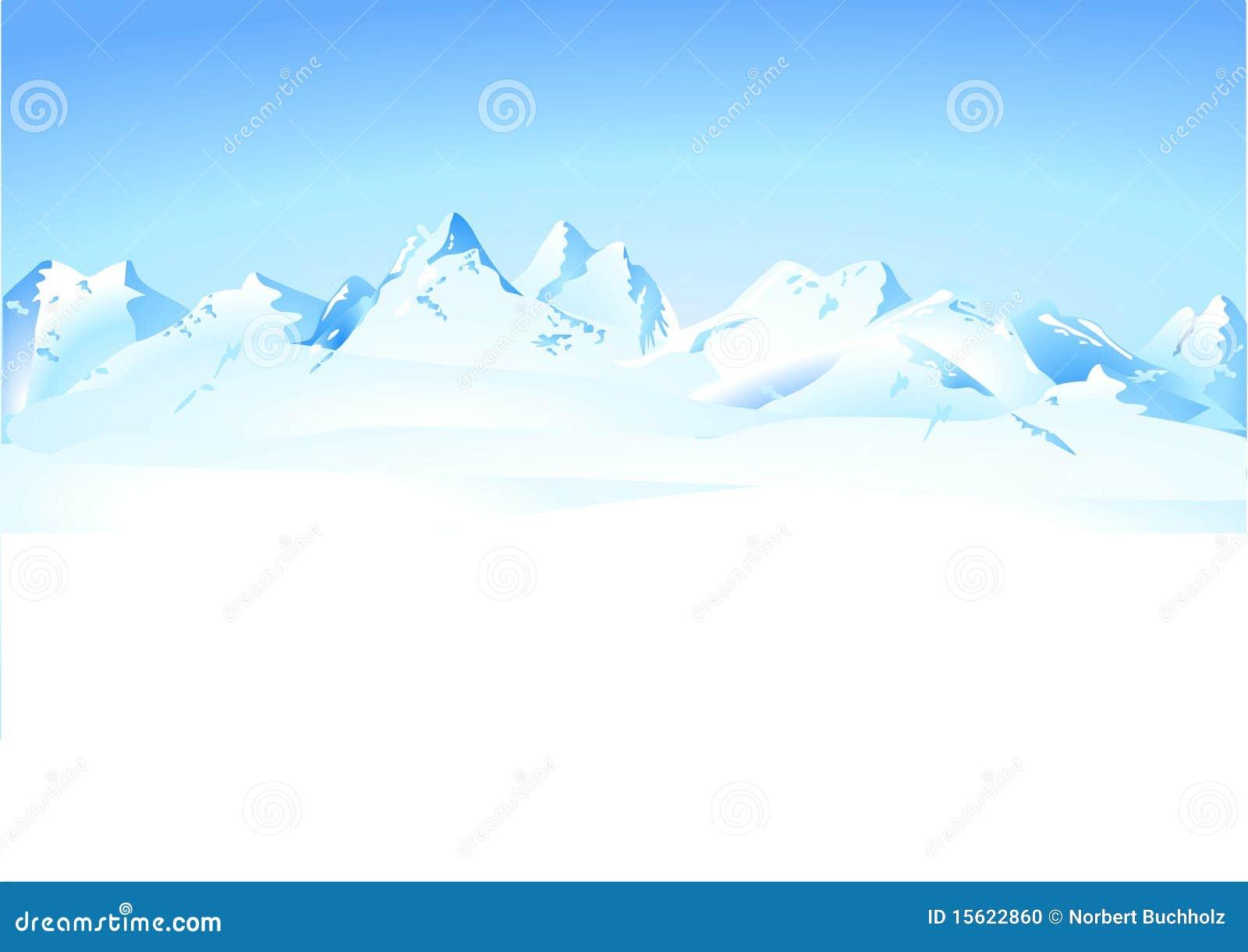 De bergenpanorama van de winter