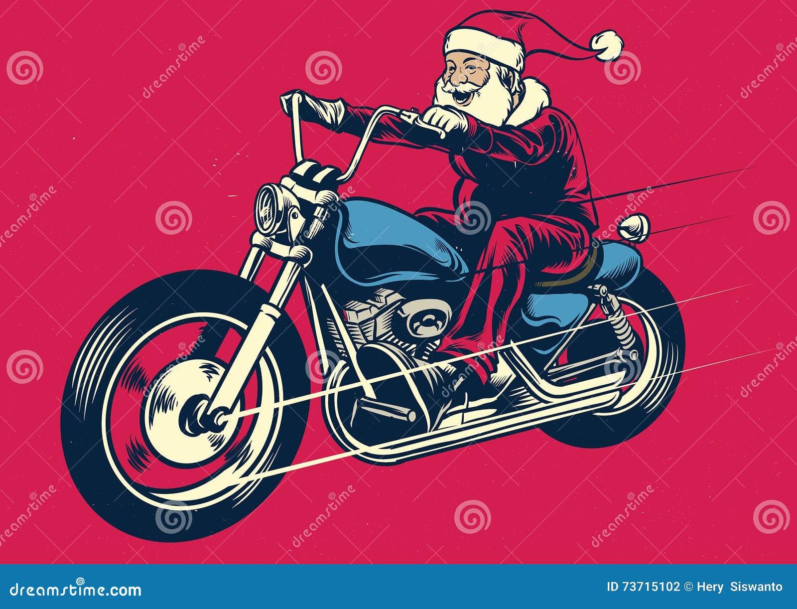 De berijdende motorfiets van de Kerstman