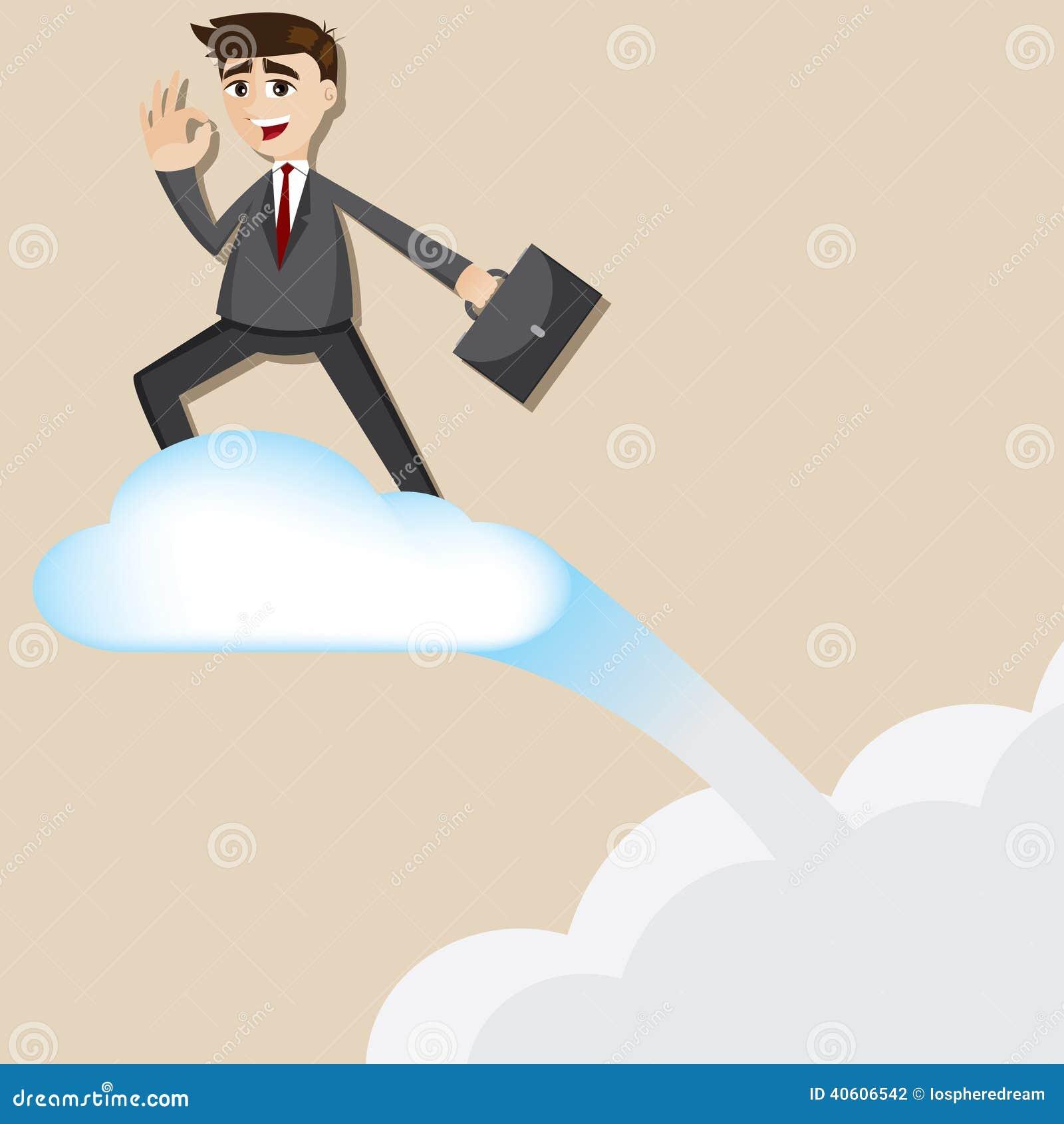 De berijdende vliegende wolk van de beeldverhaalzakenman