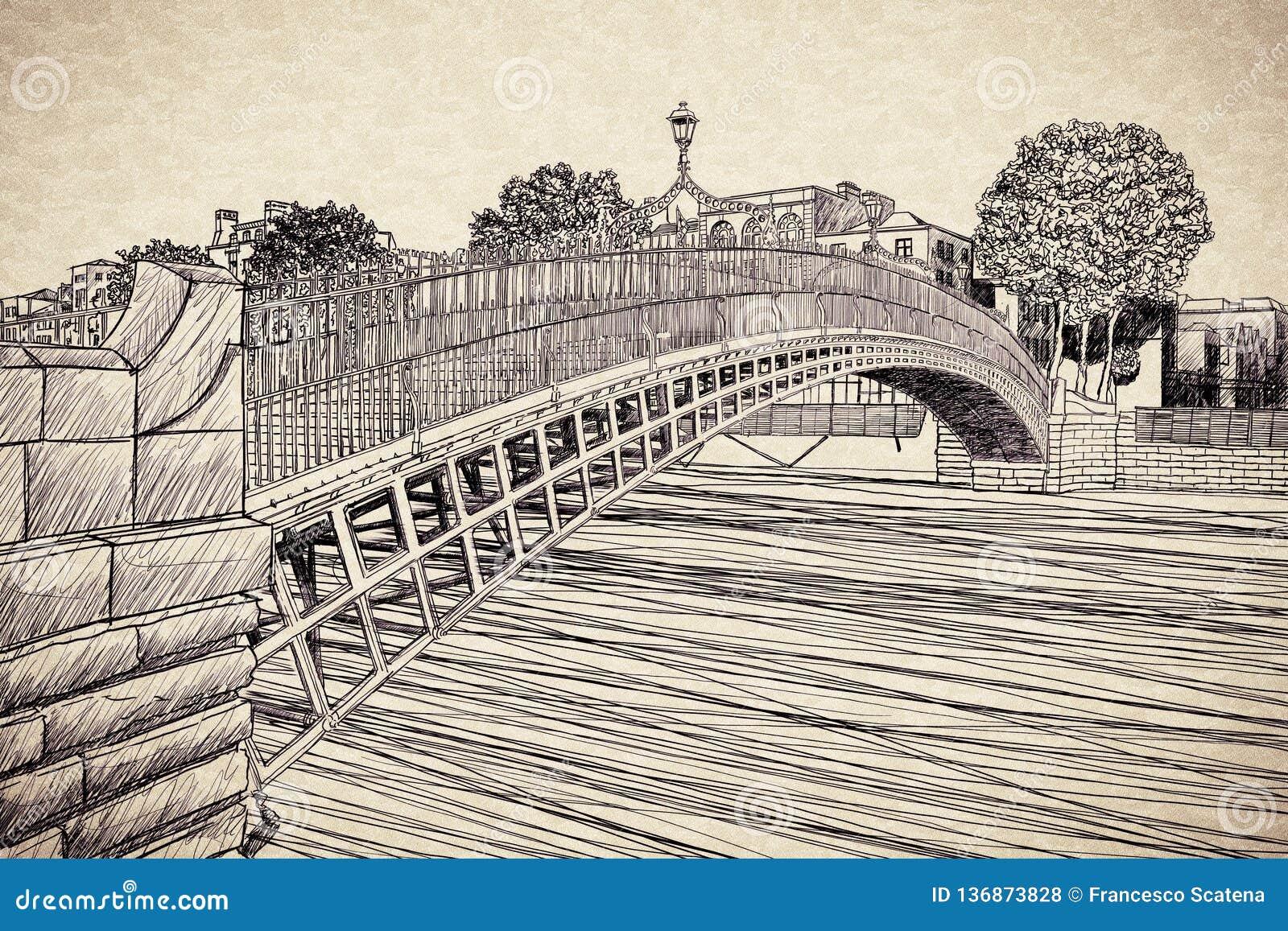 De beroemdste brug in Dublin riep Halve die stuiverbrug aan de tol gepast voor de passage wordt geladen - vrij het conceptenbeeld