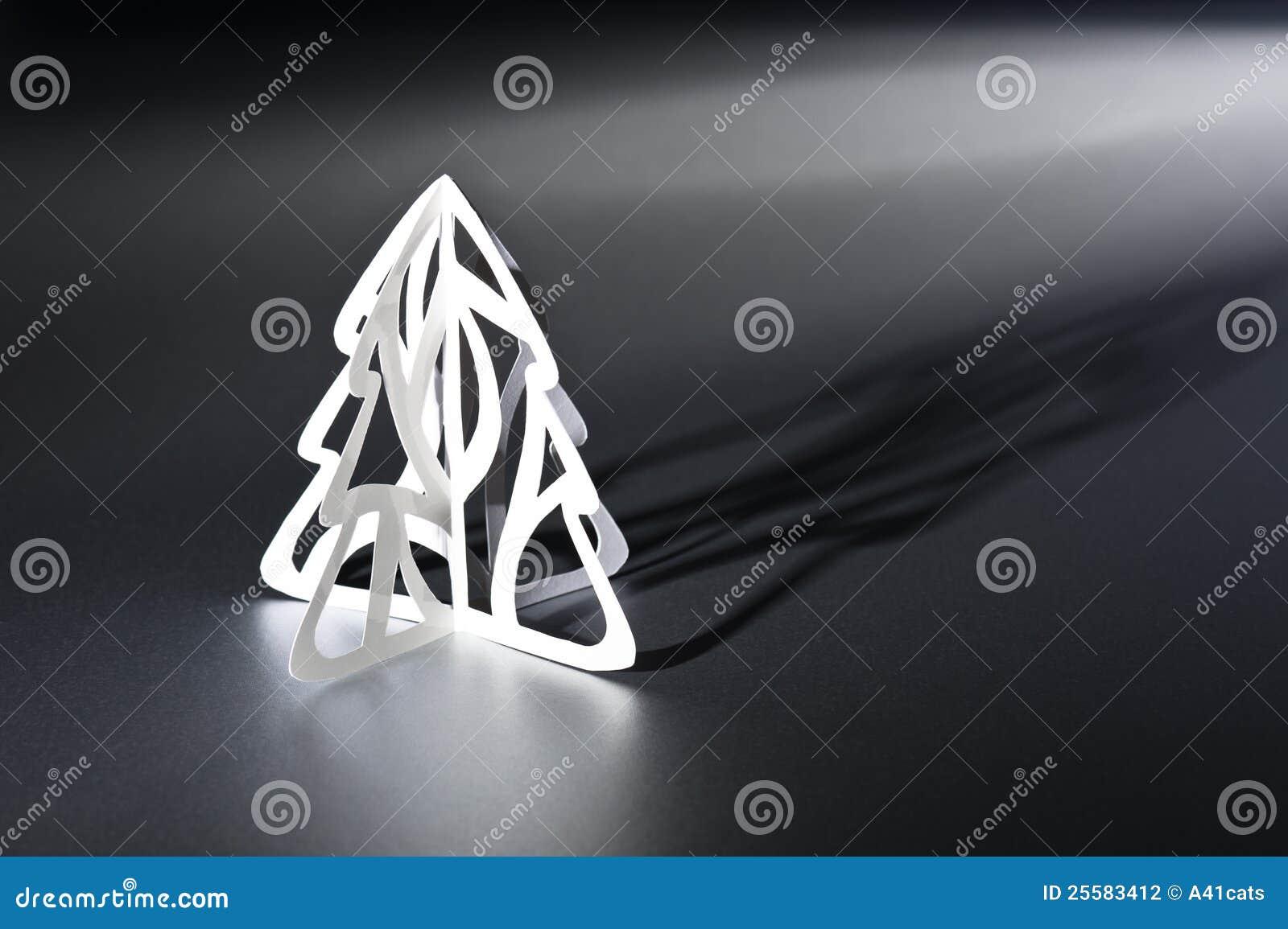De besnoeiingsKerstboom van het document in zwart-wit