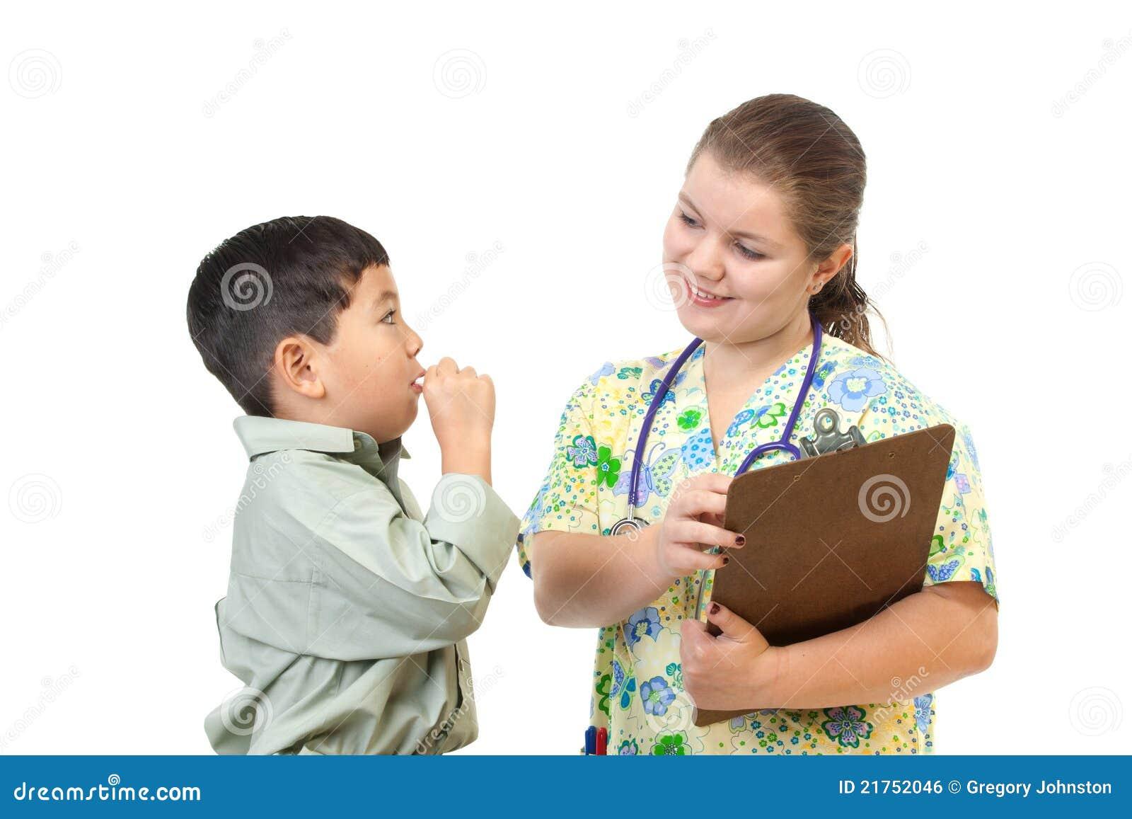 De besprekingen van de verpleegster aan patiënt.