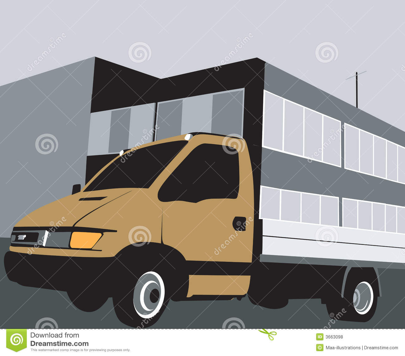 De bestelwagen van de levering
