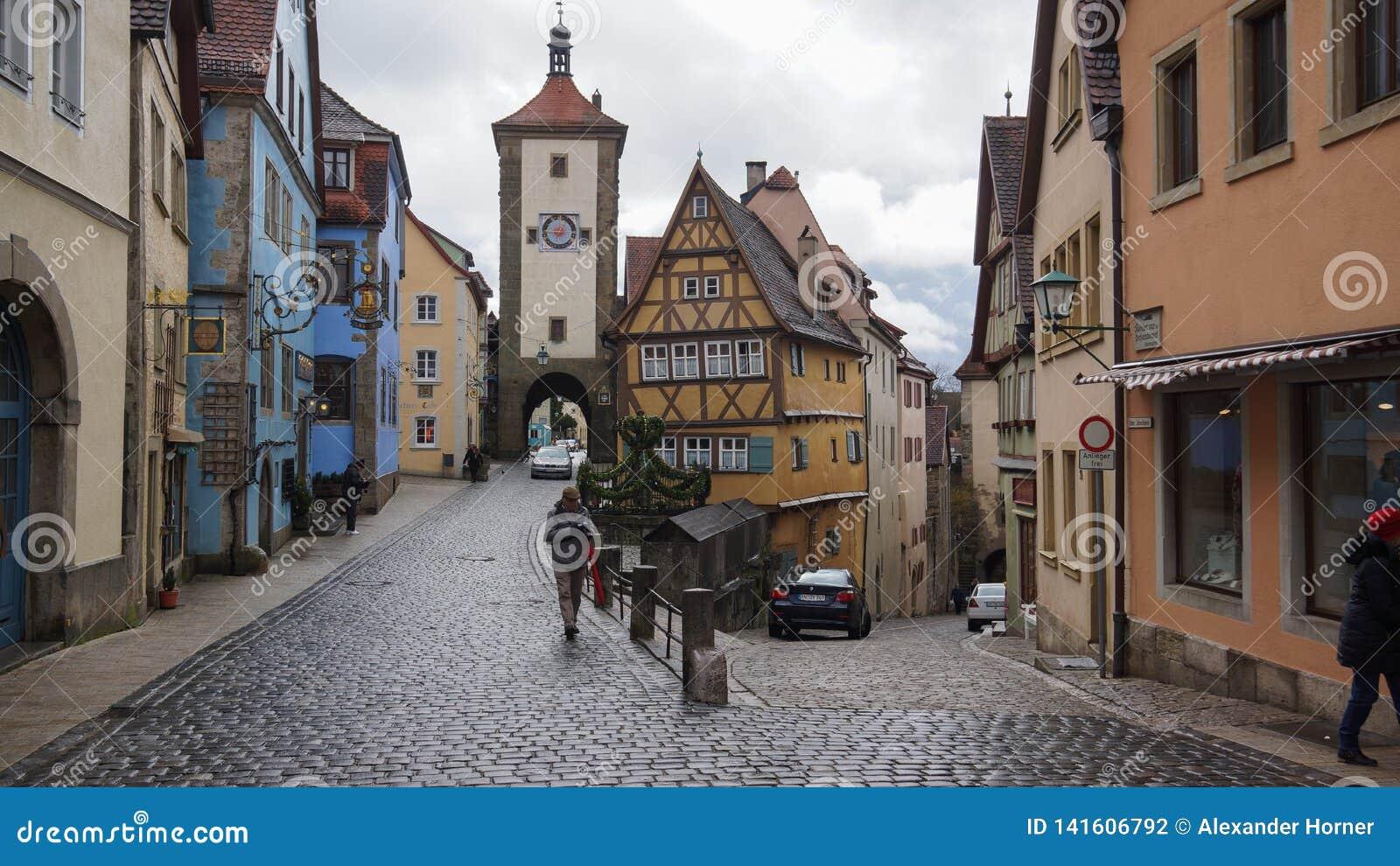 De bestemming rothenburg ob der Tauber van de Romaticstraat