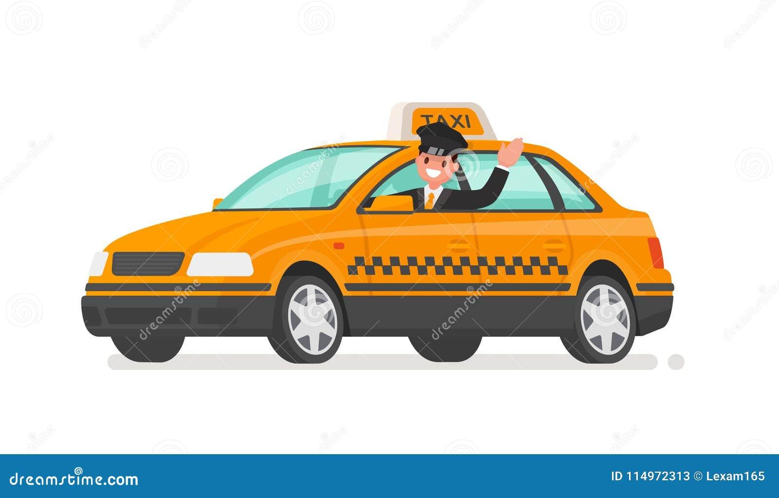 De bestuurder drijft een taxiauto Gele cabine Vector illustratie