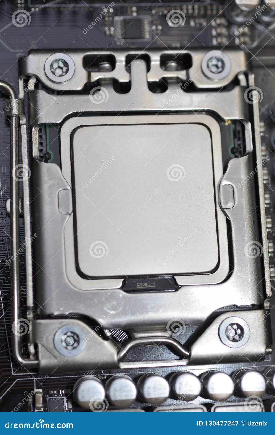 De bewerker cpu installeerde in de groef op motherboard