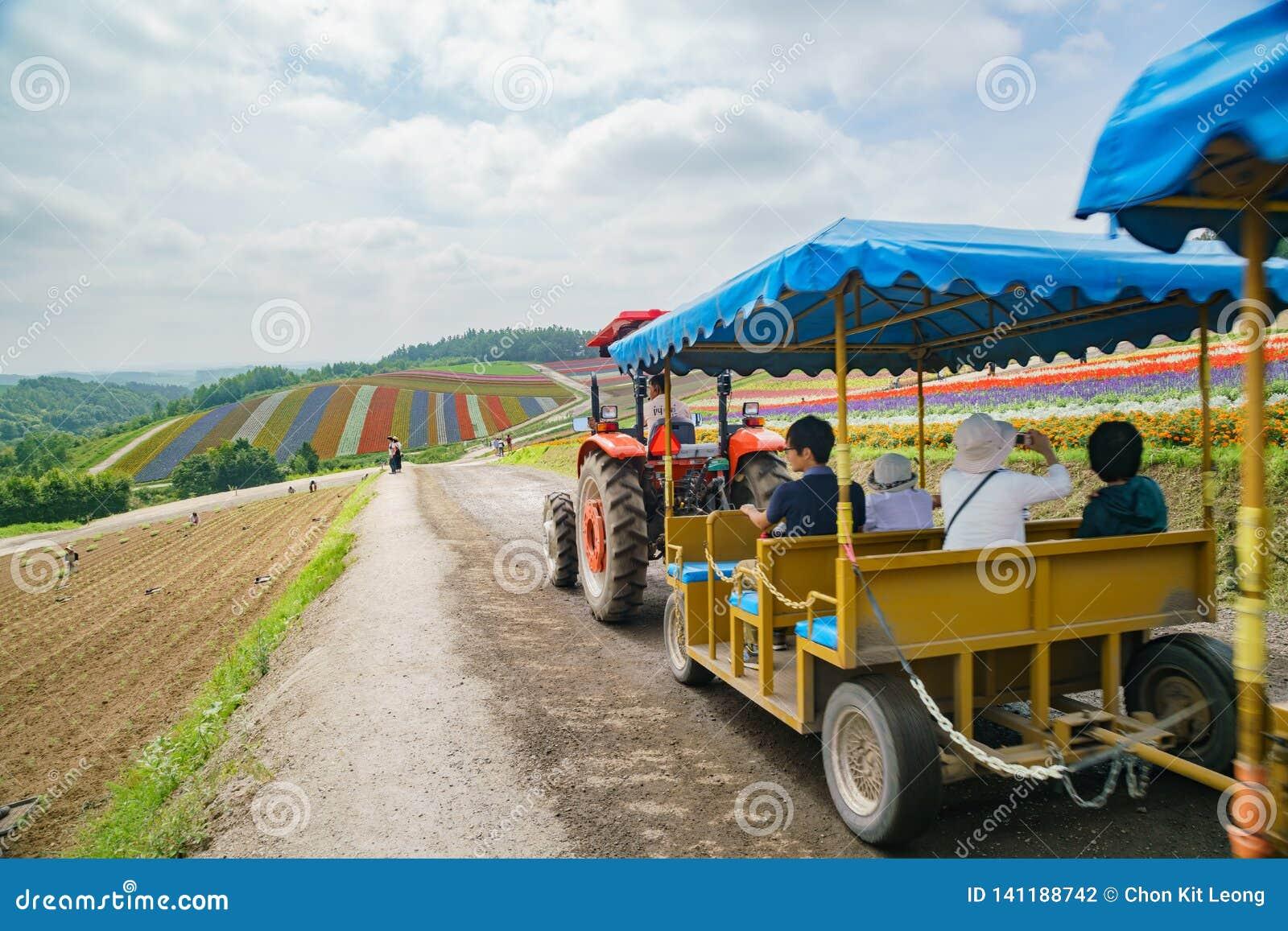 De bezoeker die vrachtwagen nemen om de beroemde en mooie Panoramische Bloem te bezoeken tuiniert shikisai-geen-Oka
