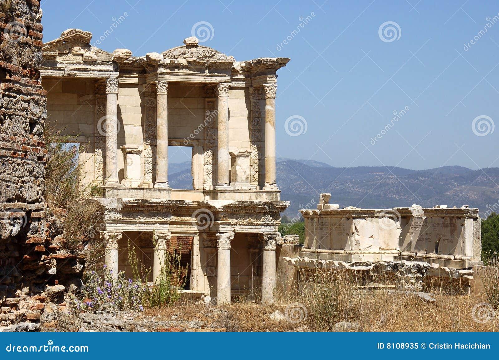 De Bibliotheek van Celsus, Ephesus, Turkije