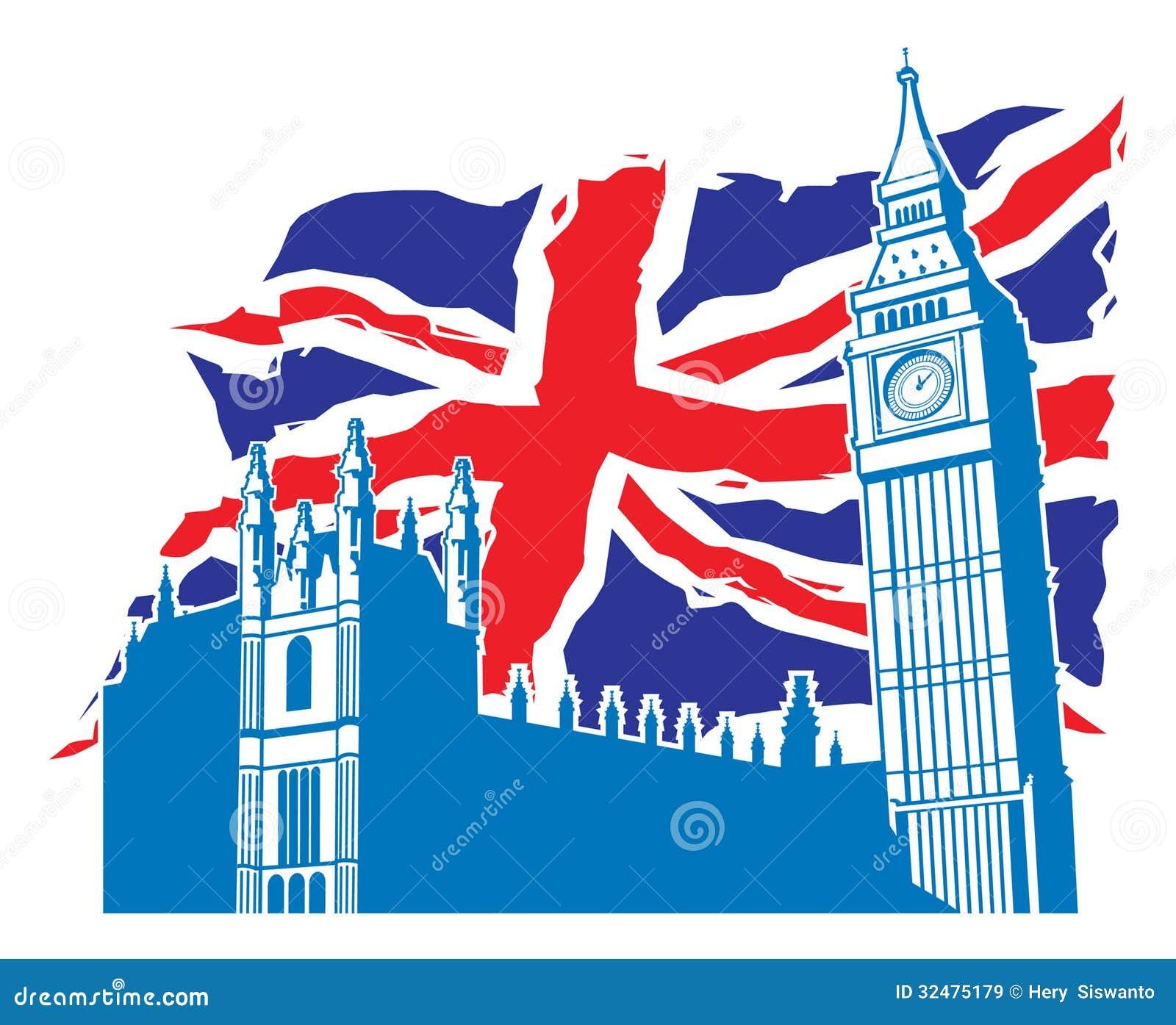 De Big Ben van Londen met Union Jack als achtergrond
