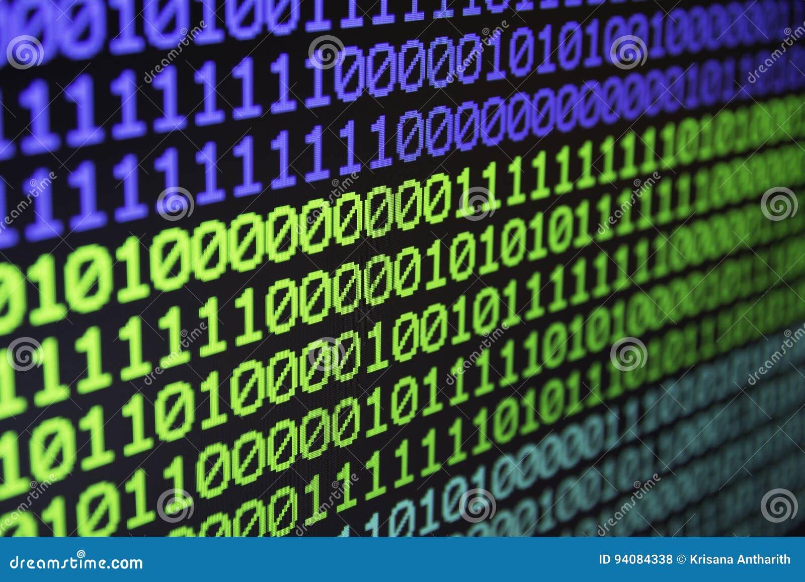 De binaire gegevens van de matrijscomputer coderen naadloze achtergrond Binaire kabeljauw
