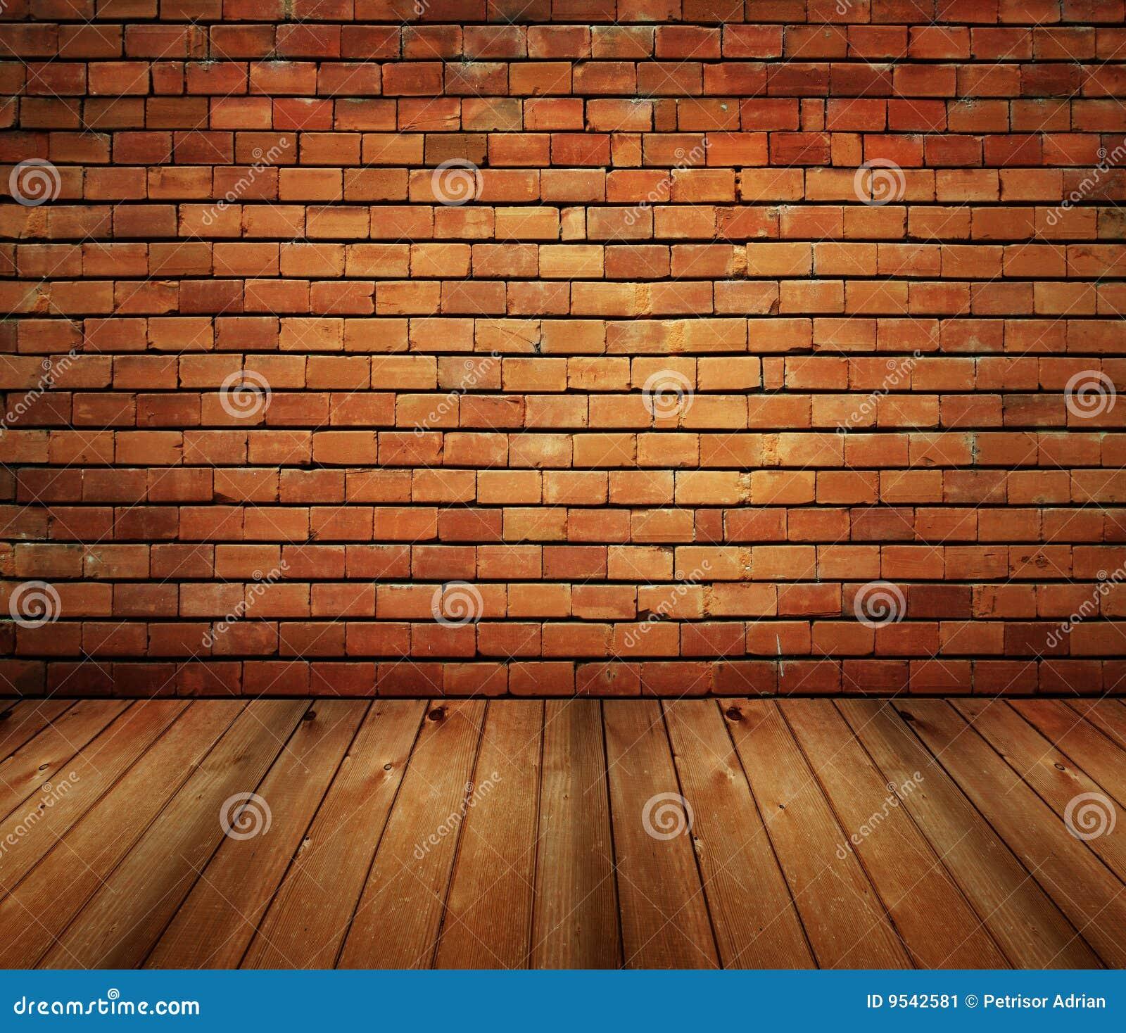 De binnenlandse baksteen van het huis en houten grungetextuur