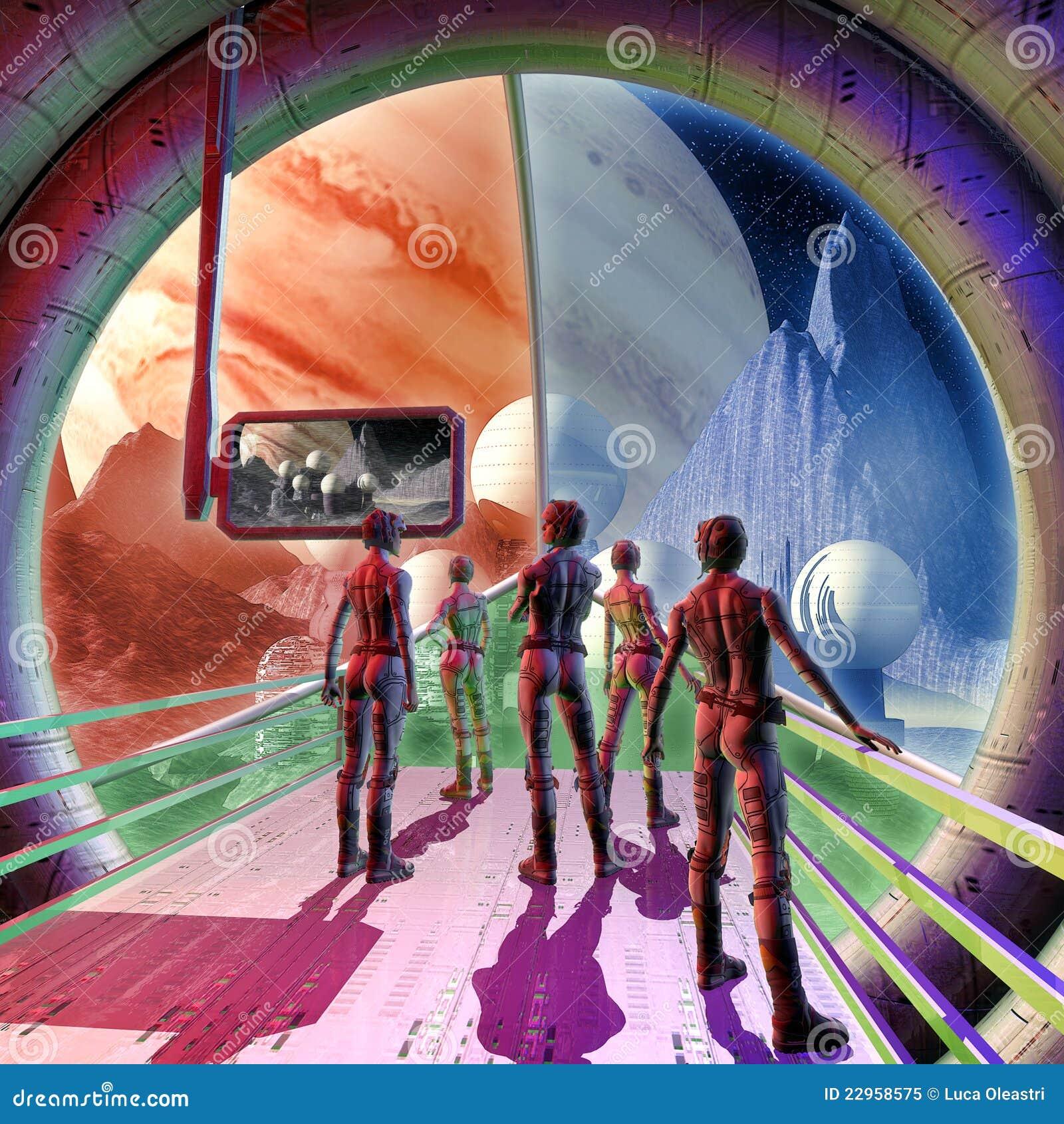 De binnenlandse en vreemde planeet van het ruimteschip