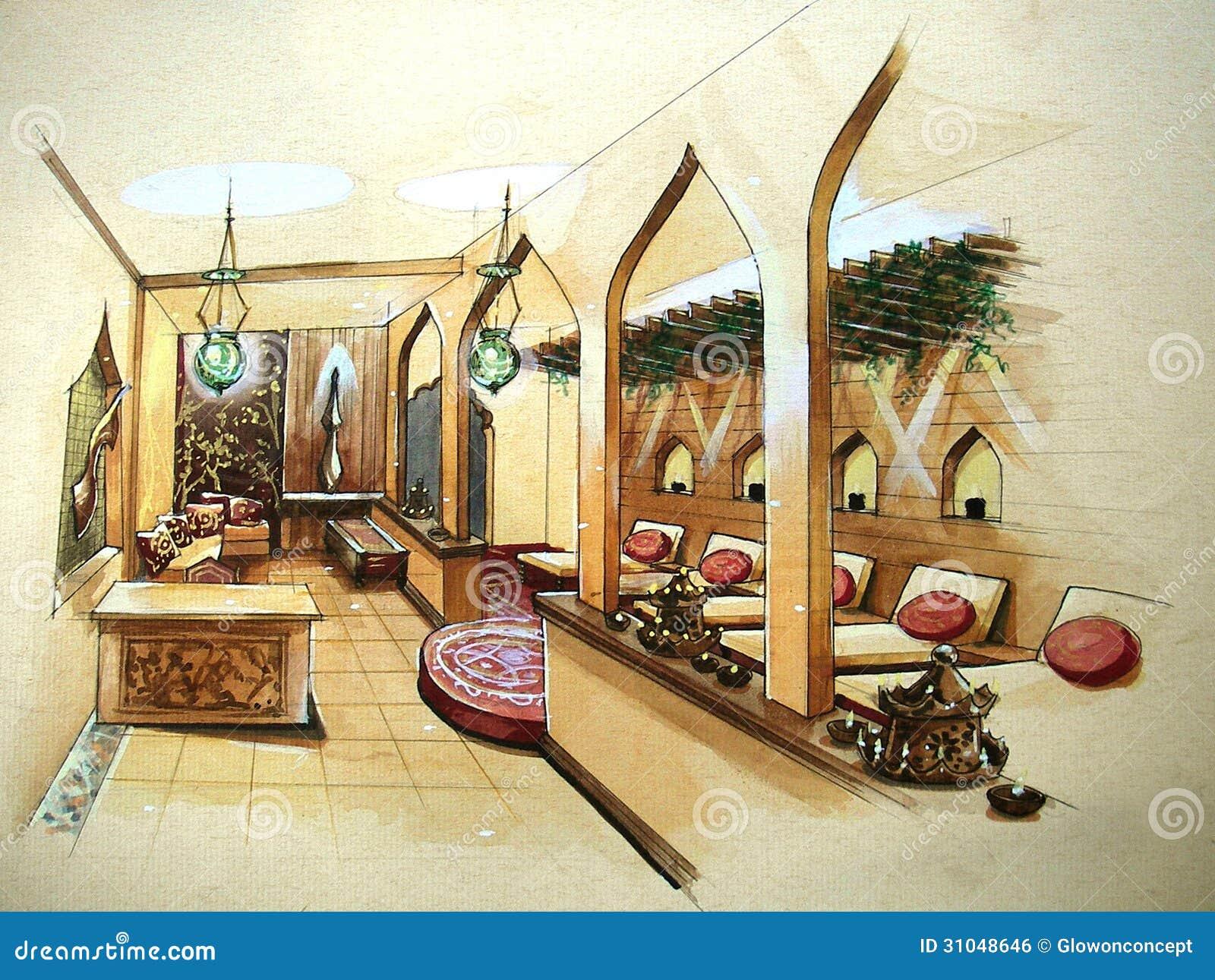 De binnenlandse illustratie van het kuuroordontwerp royalty vrije stock afbeelding afbeelding - Modern bed volwassen ...