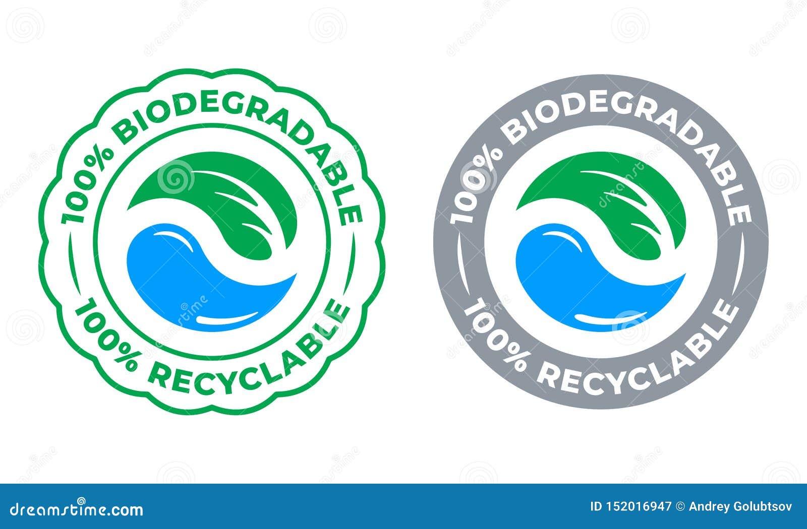 De biologisch afbreekbare rekupereerbare 100 percenten etiketteren vectorpictogram Eco bewaart bio rekupereerbaar en chemisch afb