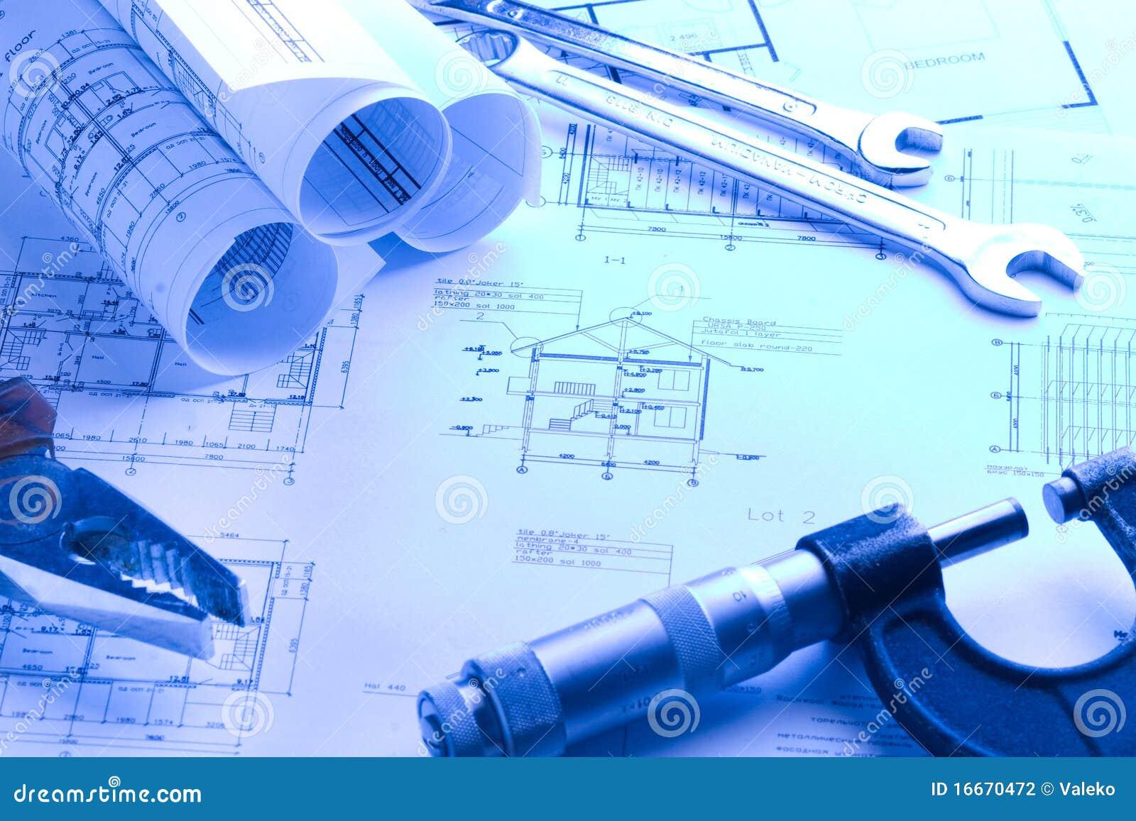 De blauwdruk van het huis met micrometer