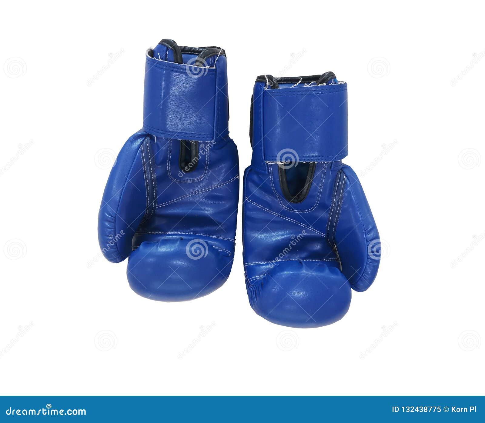 De blauwe bokshandschoenen op witte achtergrond, sport is populair