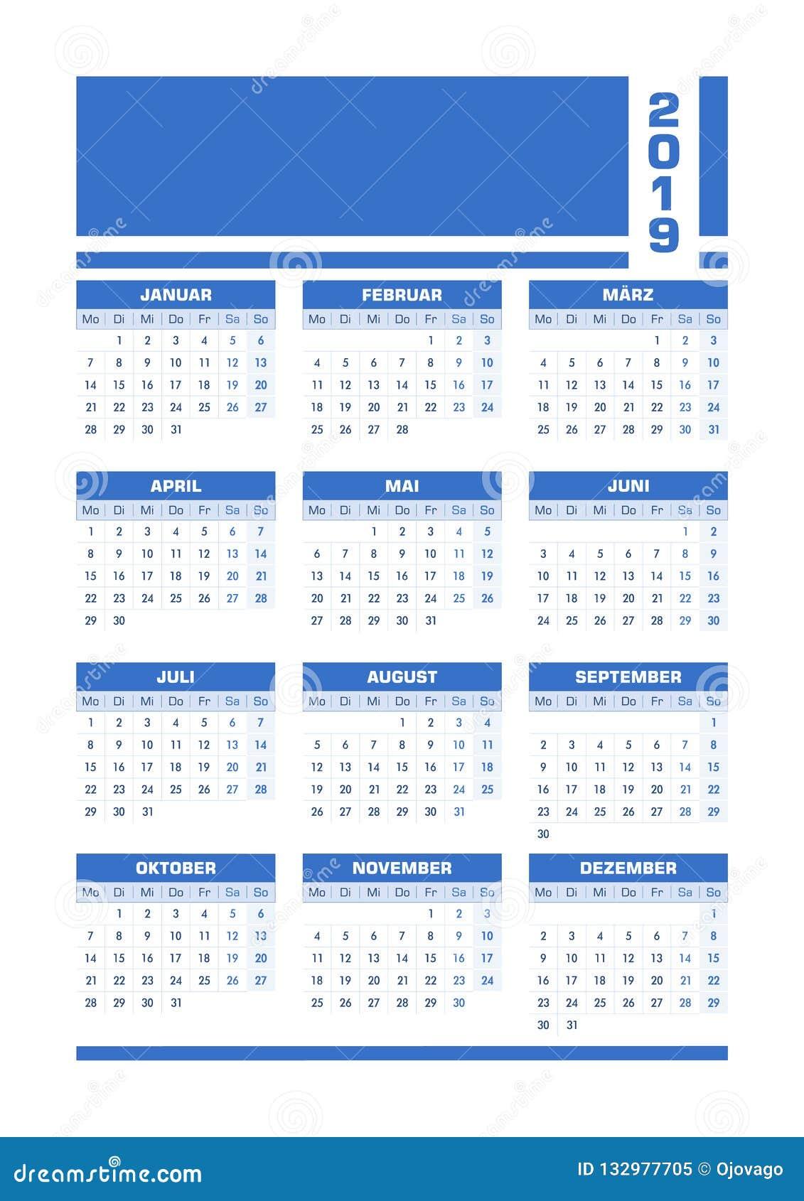 De blauwe Duitse kalender van 2019