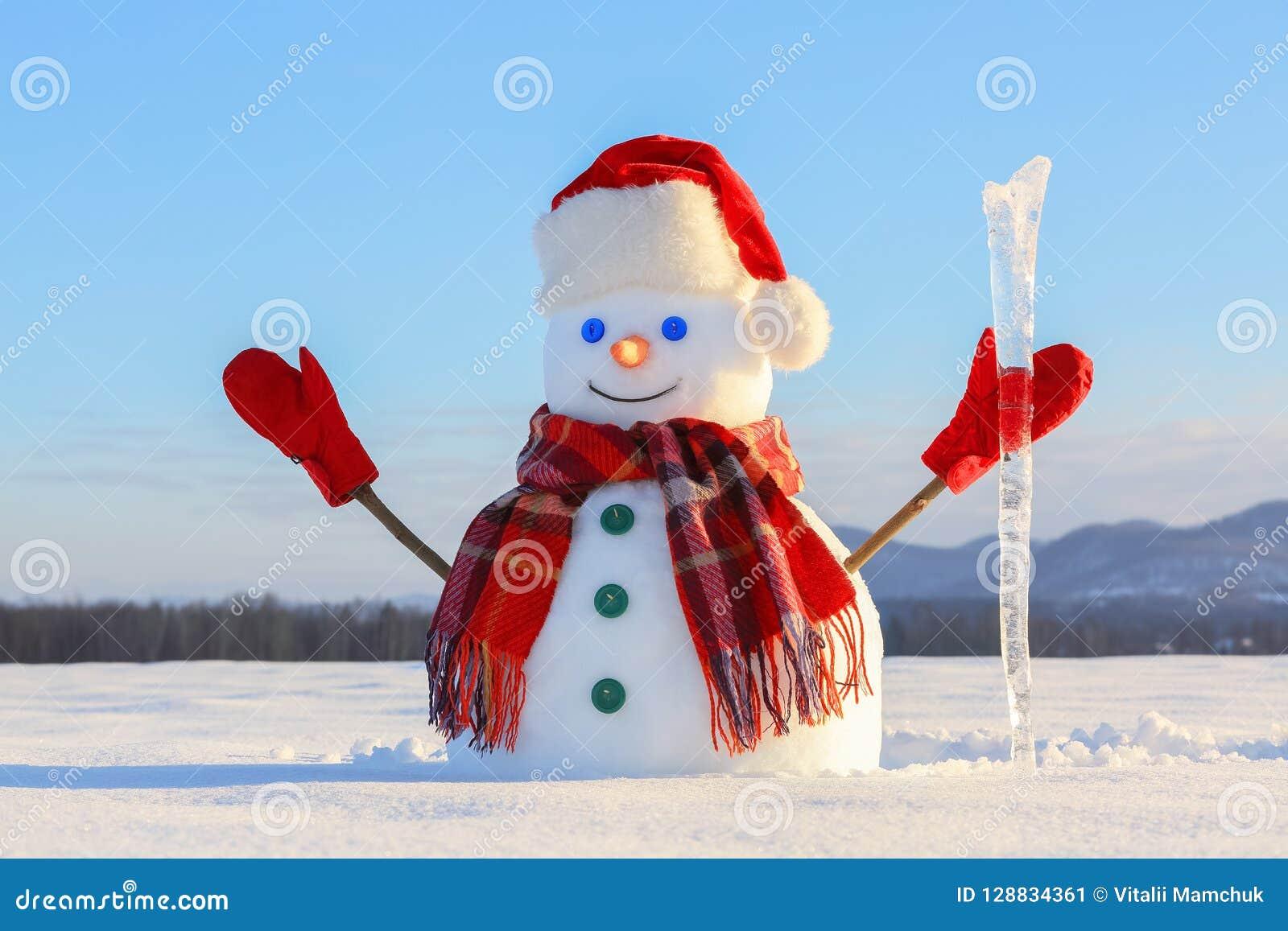 De blauwe eyed glimlachende sneeuwman in rode hoed, handschoenen en plaidsjaal houdt de ijskegel in hand Blije koude de winteroch