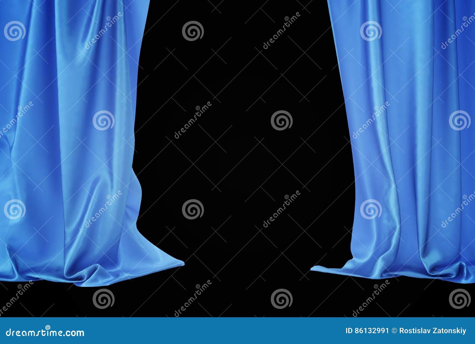 de blauwe gordijnen van het fluweelstadium scharlaken theatergordijn zijde klassieke gordijnen blauw theatergordijn het