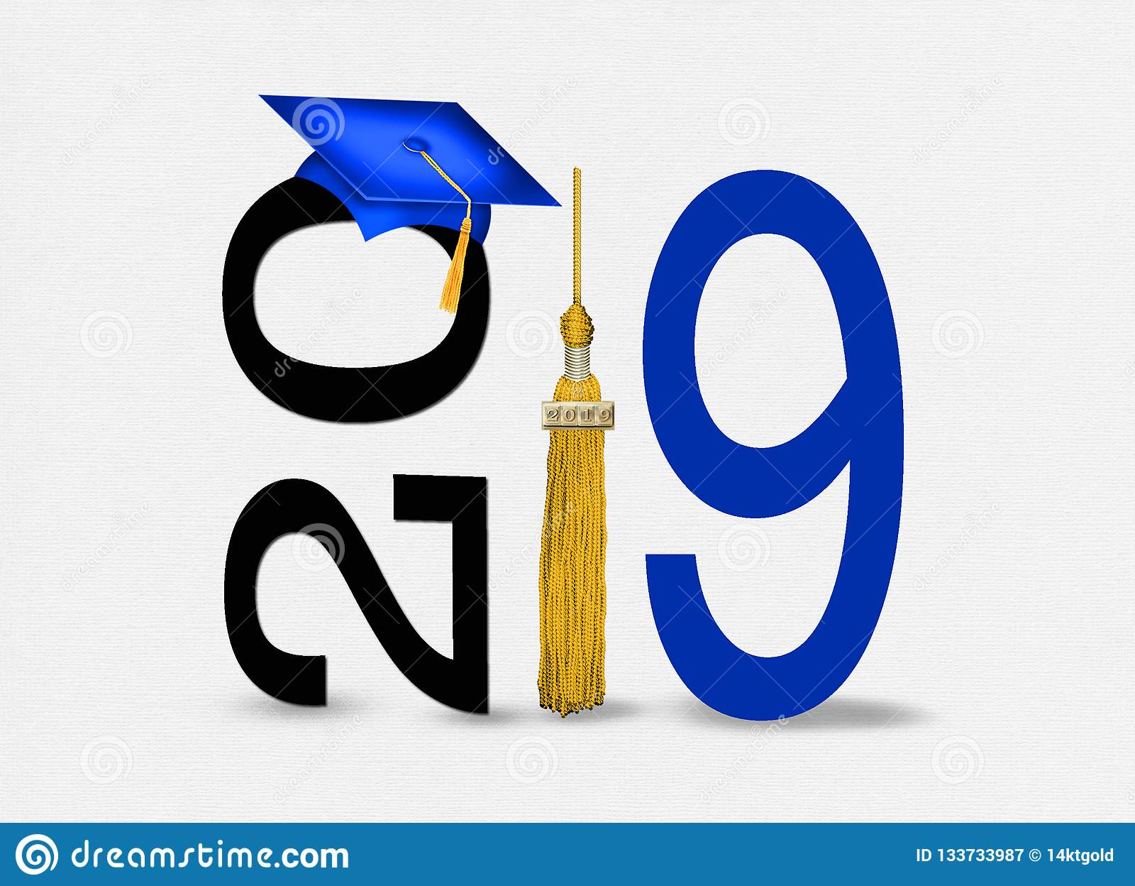 De blauwe graduatie GLB van 2019 met gouden leeswijzer