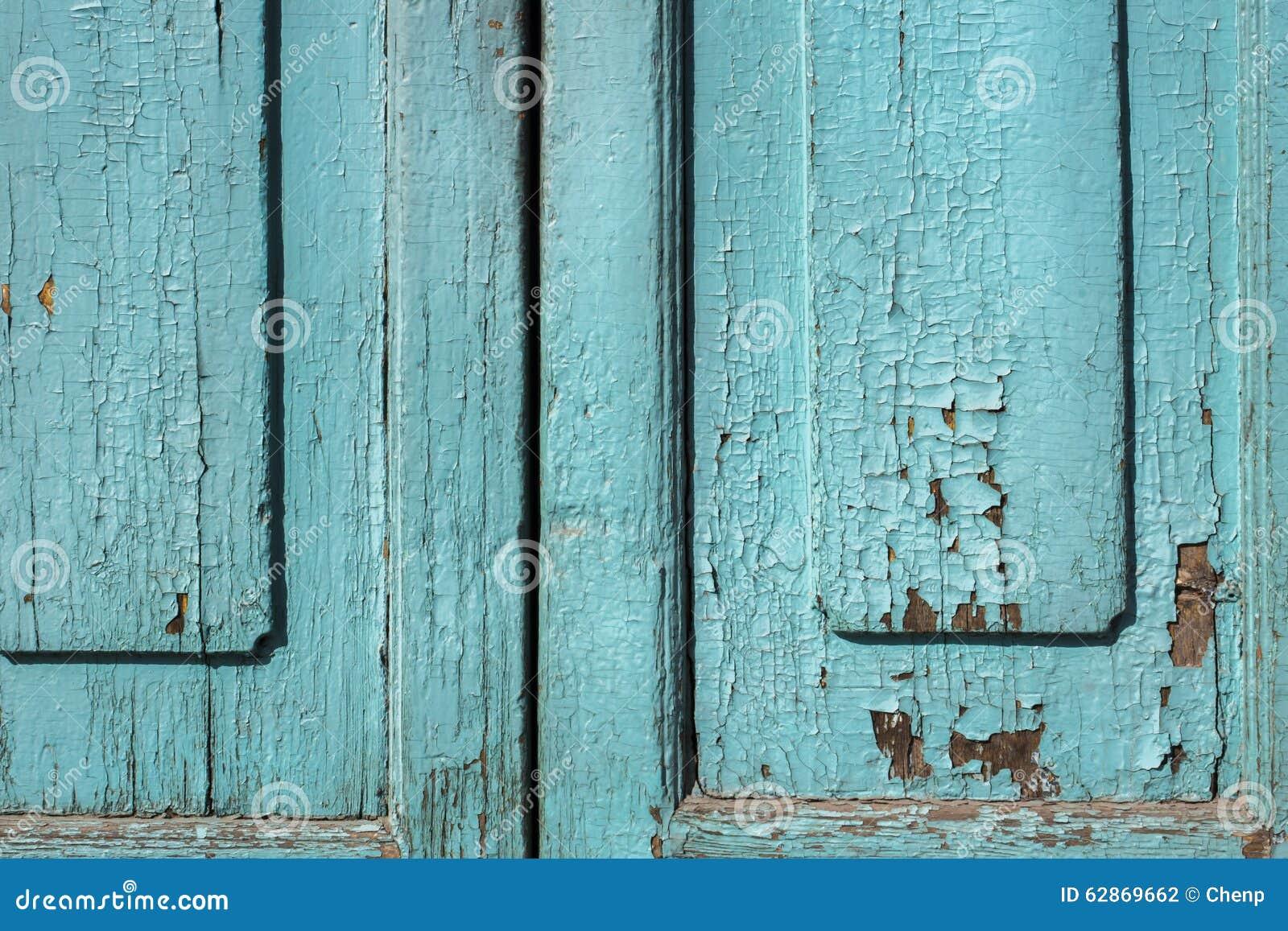 De blauwe grijze verf vlekte houten deuren stock foto afbeelding
