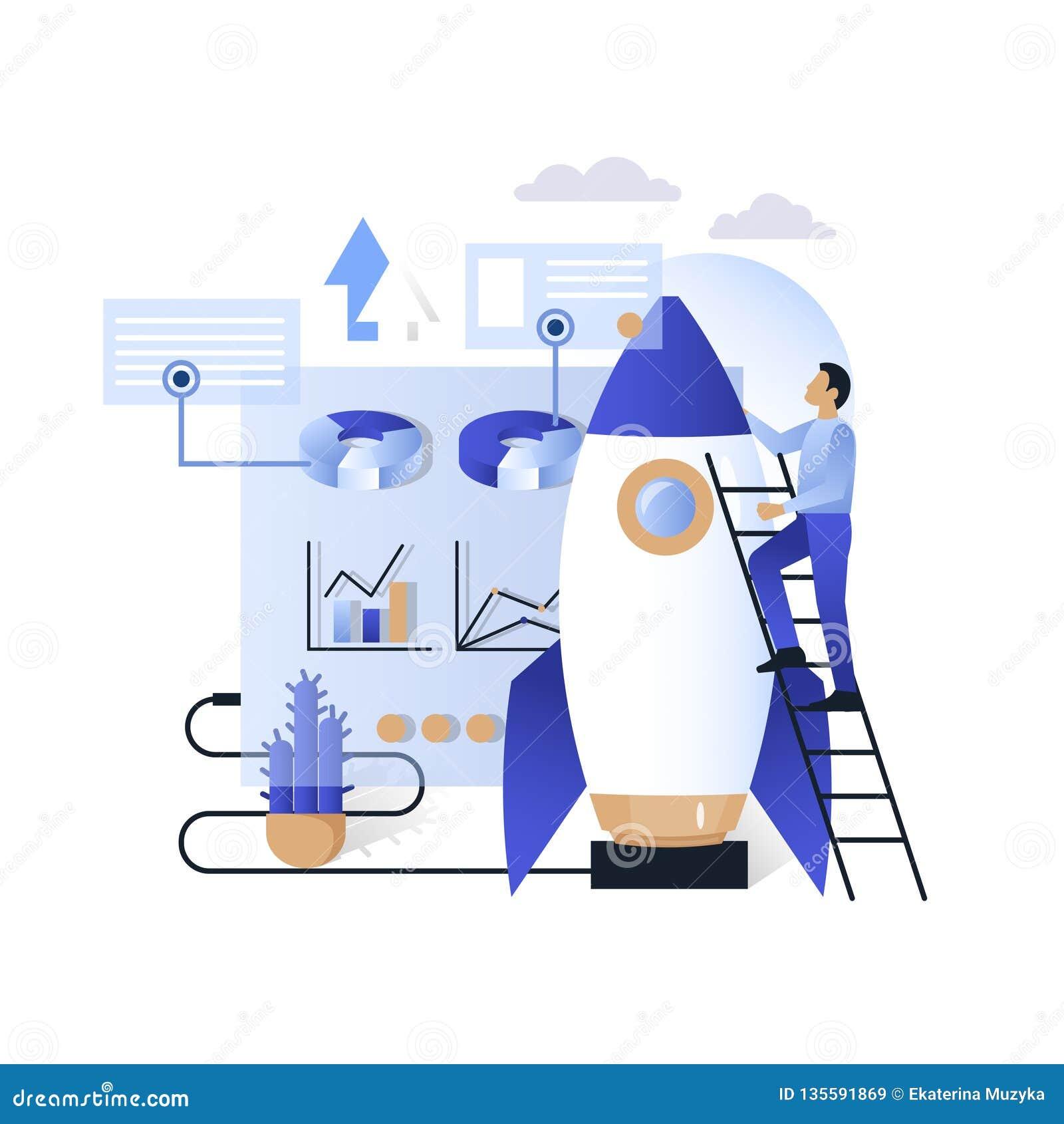 De blauwe illustratie van het bedrijfs toekomstige technologieën vectorconcept