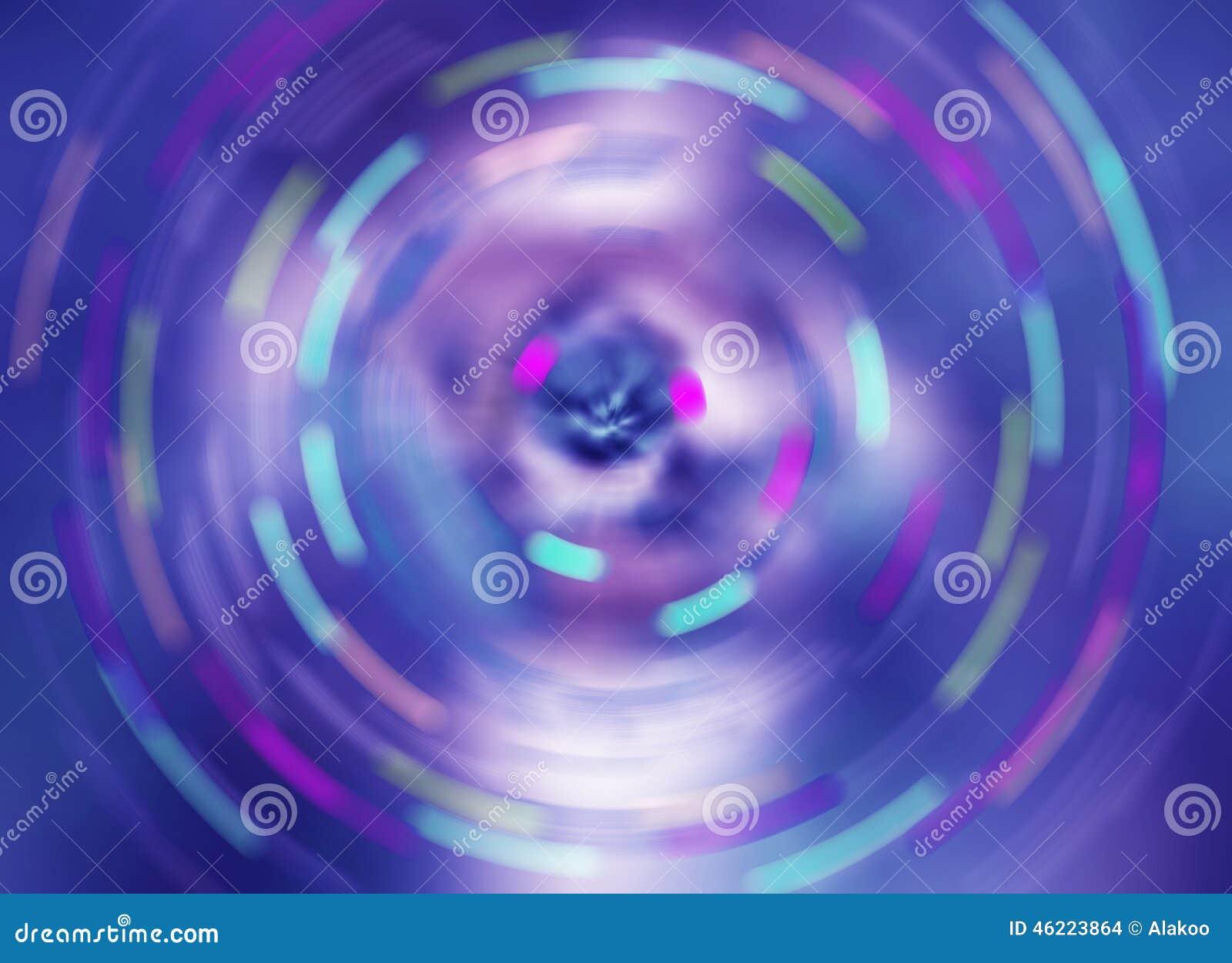De blauwe kleur die abstracte het onduidelijke beeldachtergrond spint van de snelheidsmotie, roteert rotatie vaag patroon
