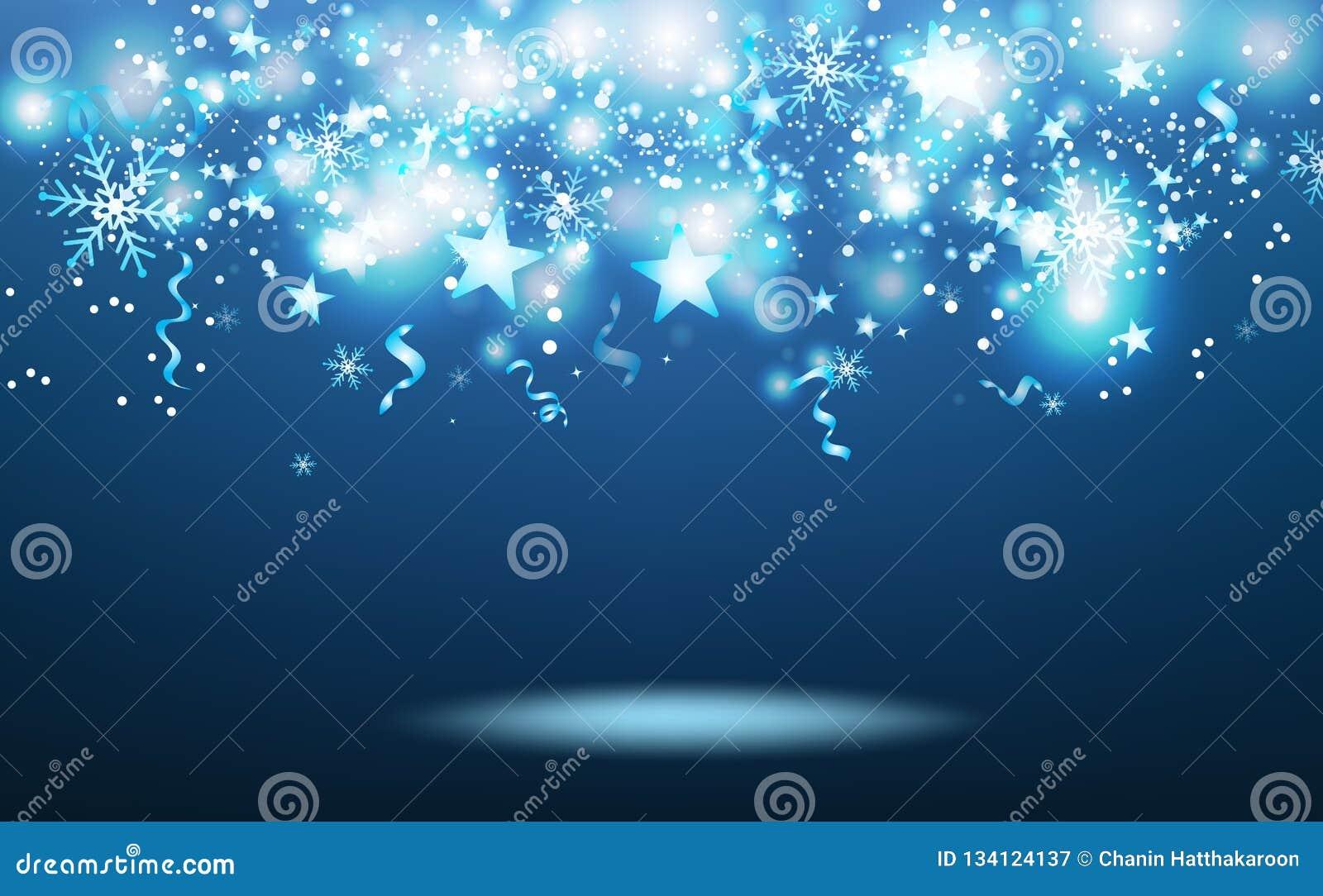 De blauwe magische vallende sterren die, wintertijd, sterren barsten confettien, sneeuwvlokken en linten, het gloeien deeltjesvie