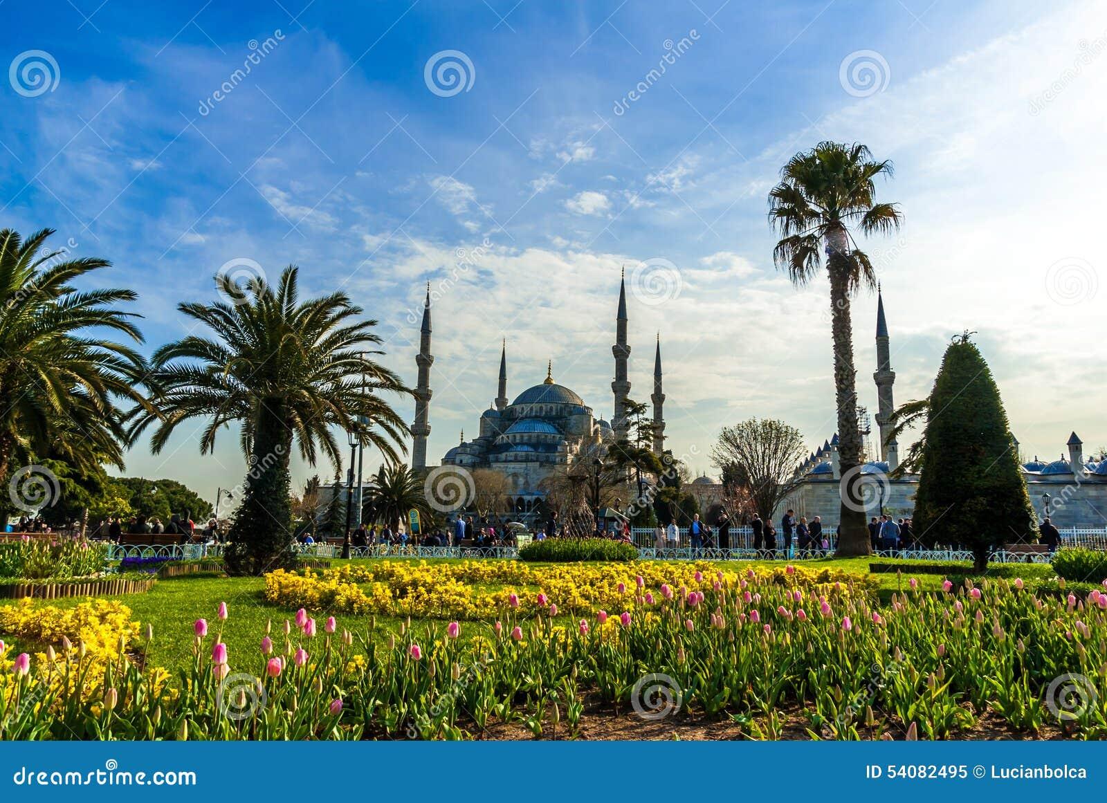 De blauwe Moskee, (Sultanahmet Camii), Istanboel, Turkije