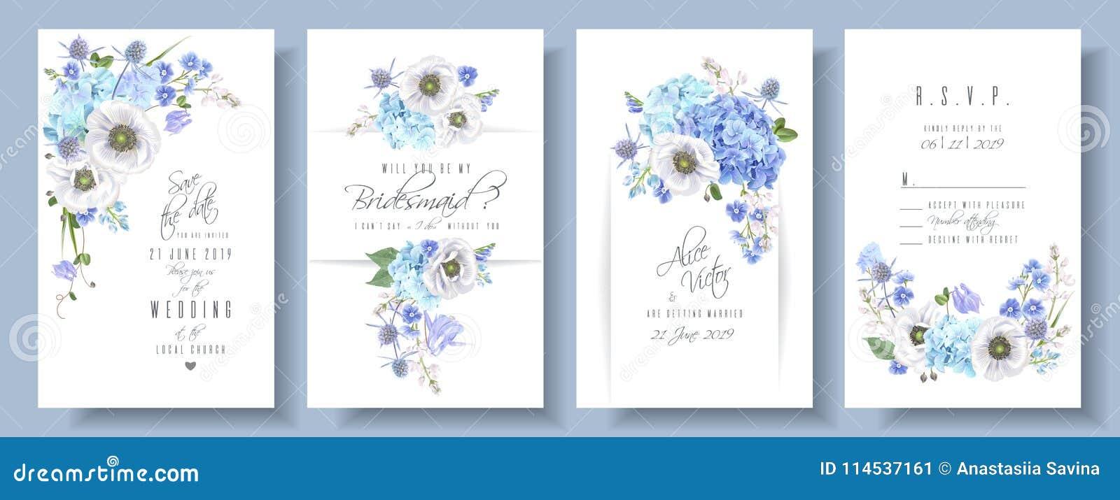 De blauwe reeks van het anemoonhuwelijk