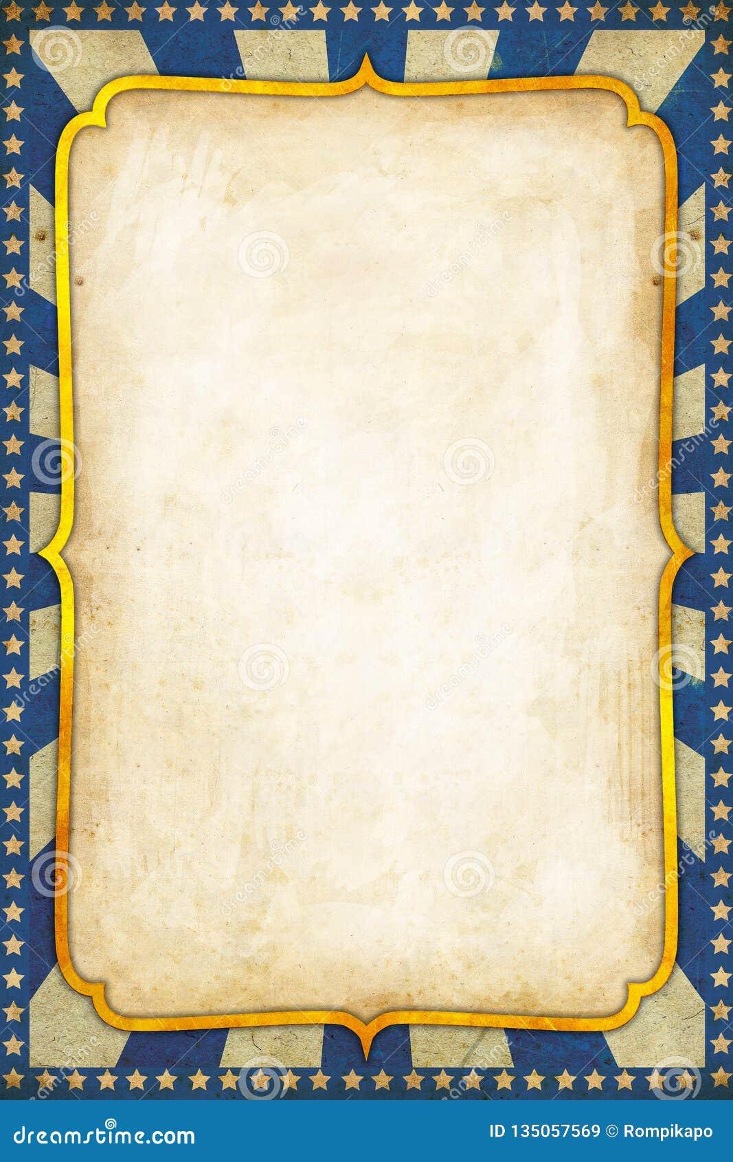De blauwe Uitstekende Achtergrond van de Circusaffiche met gouden kader