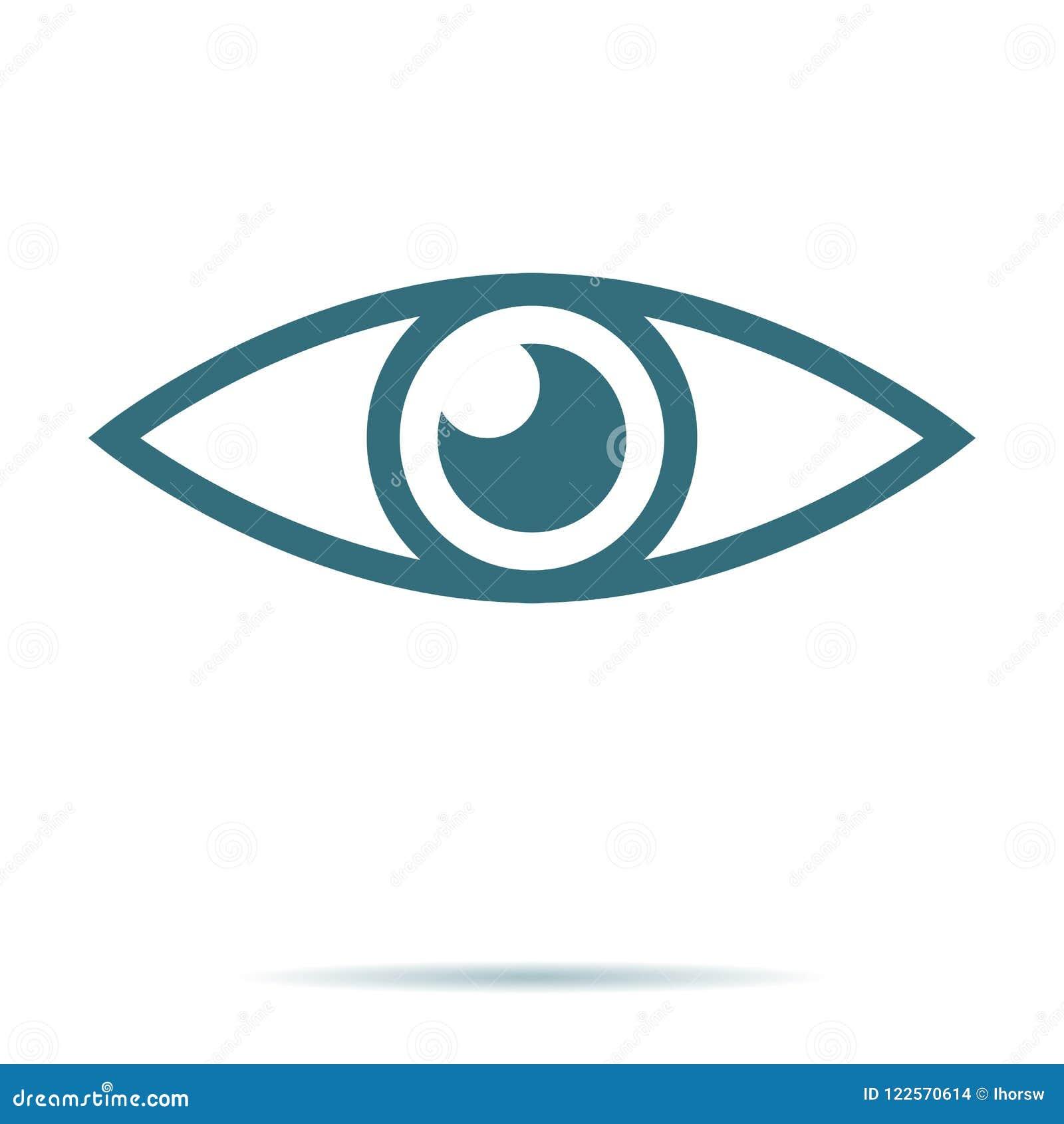 De blauwe vector van het oogpictogram Vlak die visiesymbool op witte achtergrond wordt geïsoleerd In Internet-concept wijze